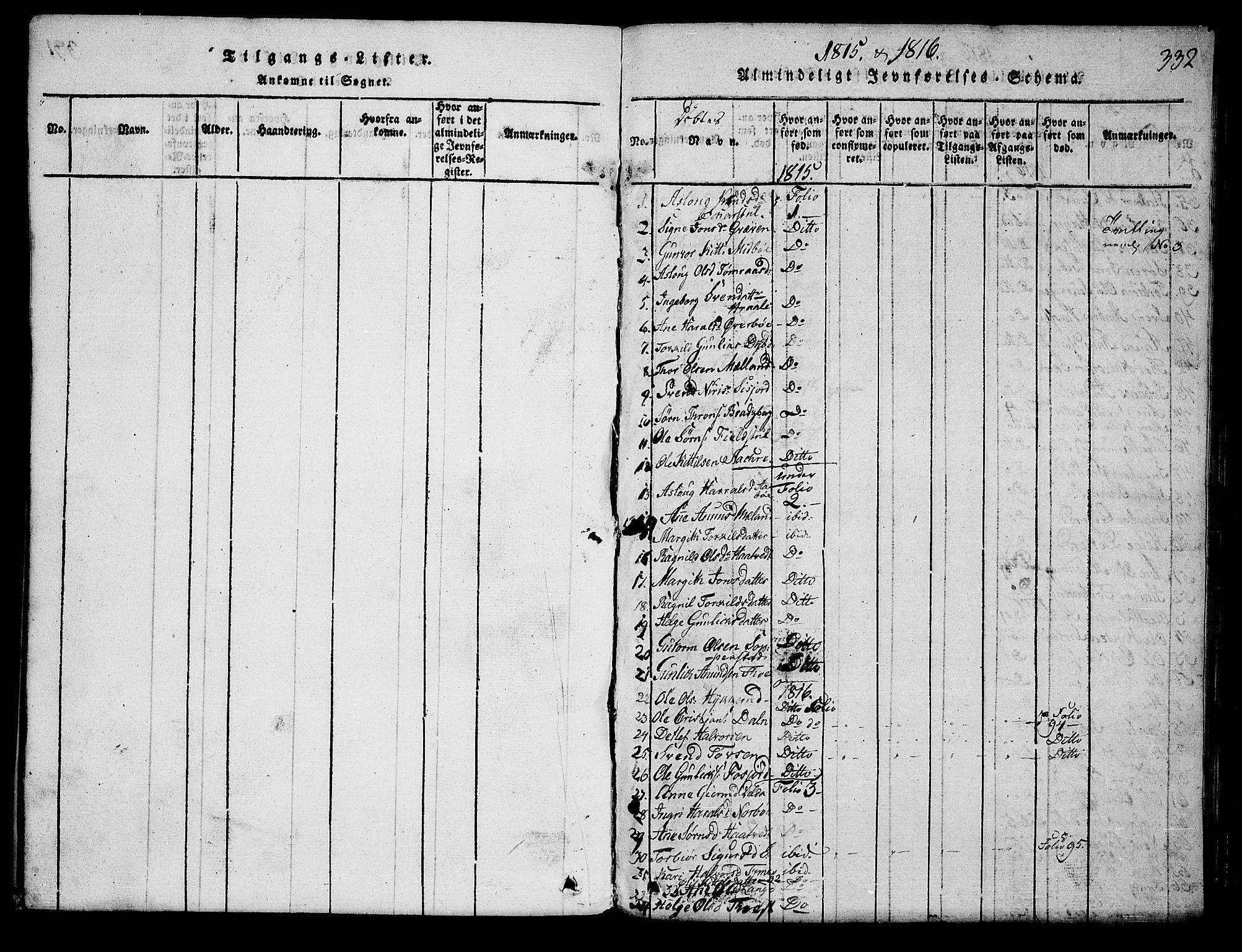 SAKO, Hjartdal kirkebøker, G/Ga/L0001: Klokkerbok nr. I 1, 1815-1842, s. 332