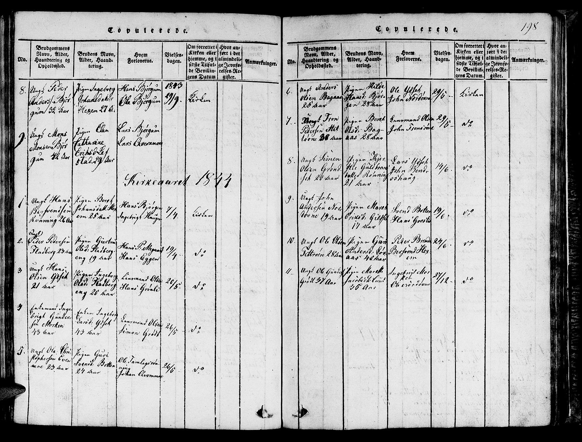 SAT, Ministerialprotokoller, klokkerbøker og fødselsregistre - Sør-Trøndelag, 685/L0976: Klokkerbok nr. 685C01, 1817-1878, s. 198
