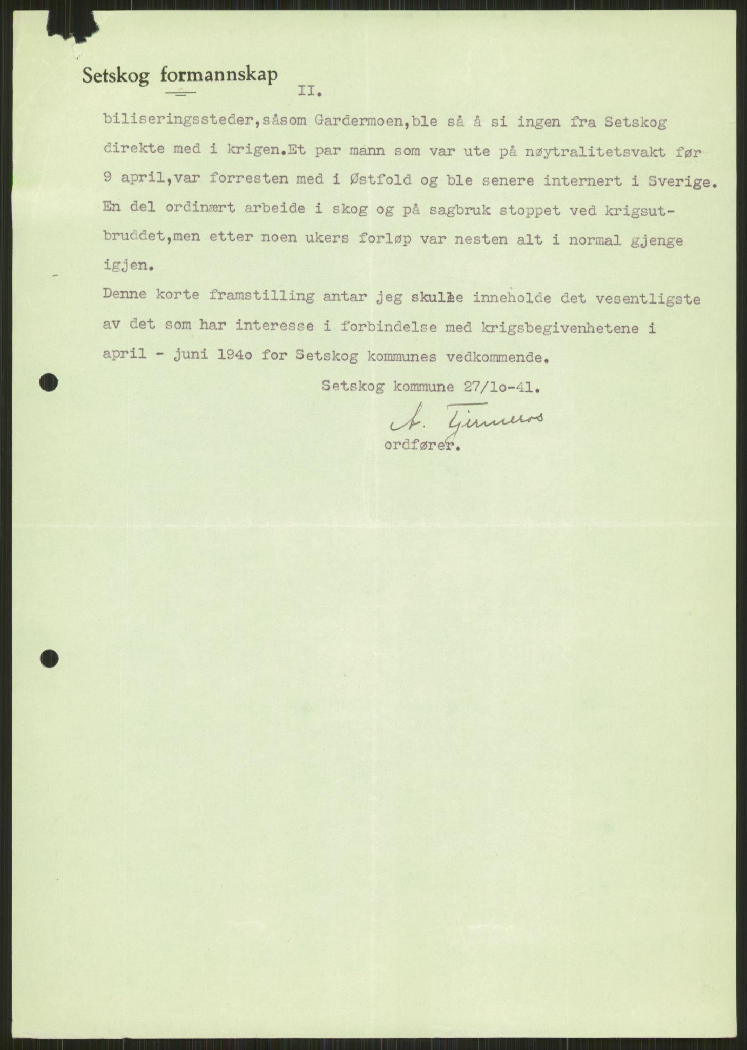 RA, Forsvaret, Forsvarets krigshistoriske avdeling, Y/Ya/L0013: II-C-11-31 - Fylkesmenn.  Rapporter om krigsbegivenhetene 1940., 1940, s. 826