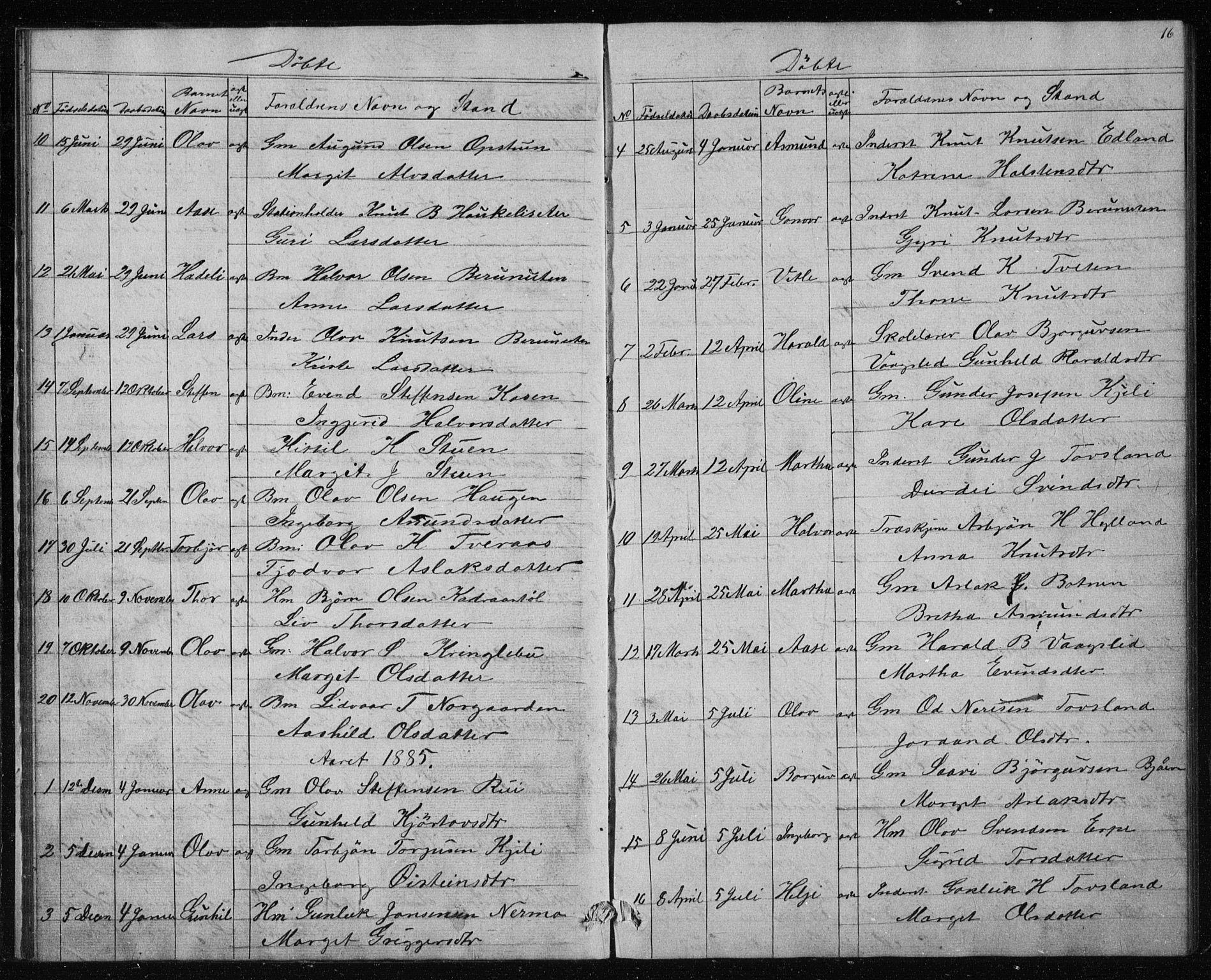 SAKO, Vinje kirkebøker, G/Gc/L0001: Klokkerbok nr. III 1, 1850-1893, s. 16