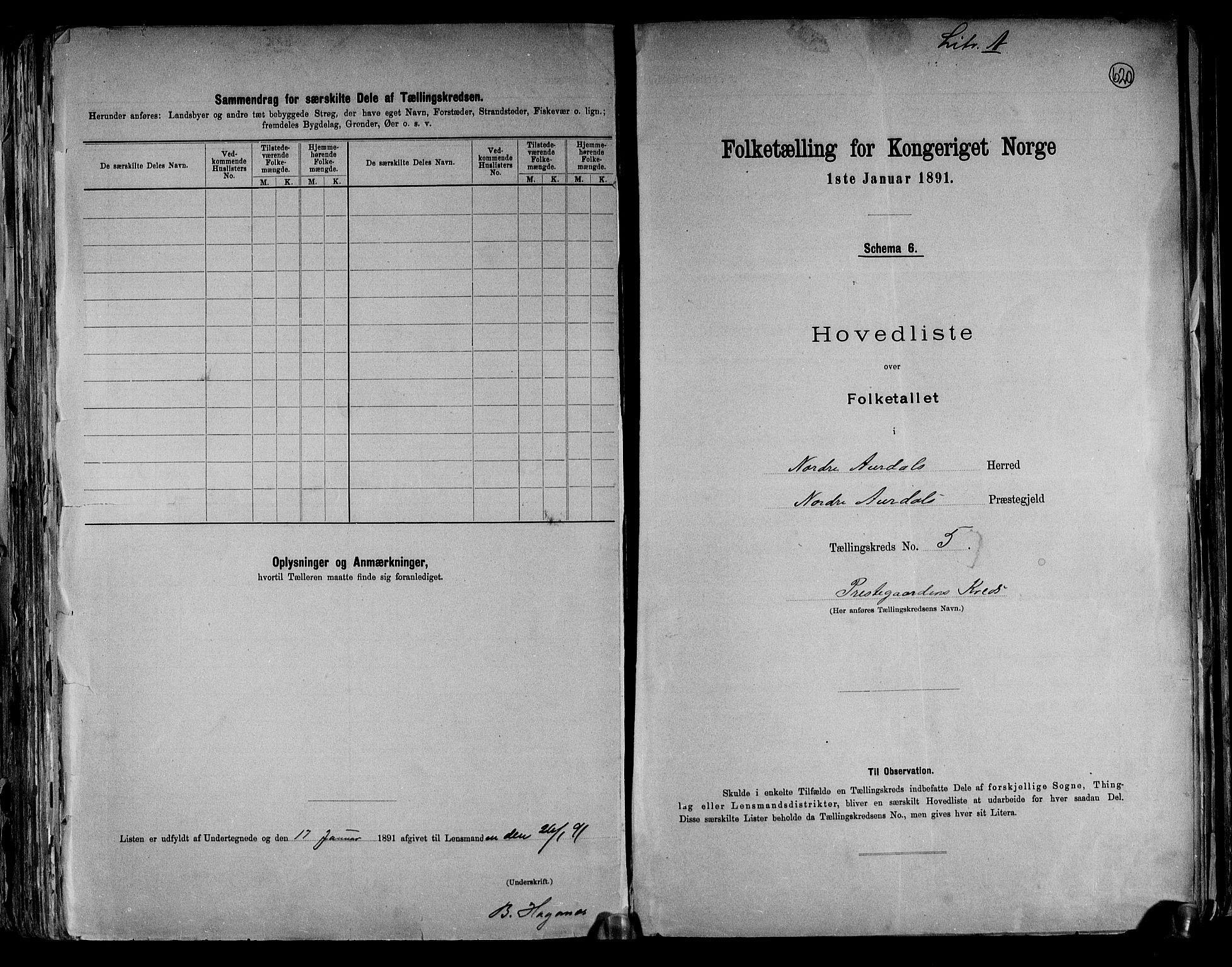 RA, Folketelling 1891 for 0542 Nord-Aurdal herred, 1891, s. 15