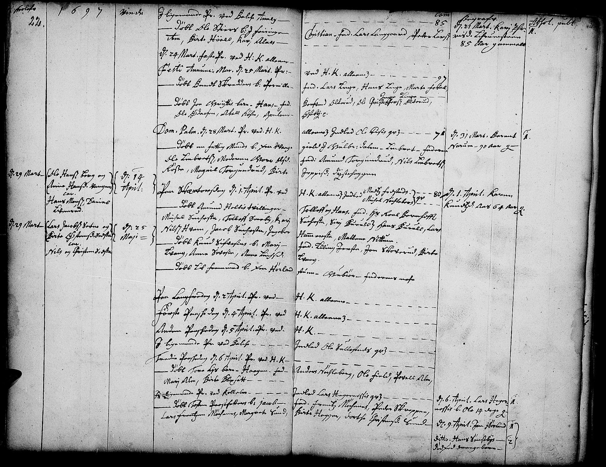 SAH, Toten prestekontor, Ministerialbok nr. 1, 1695-1713, s. 22
