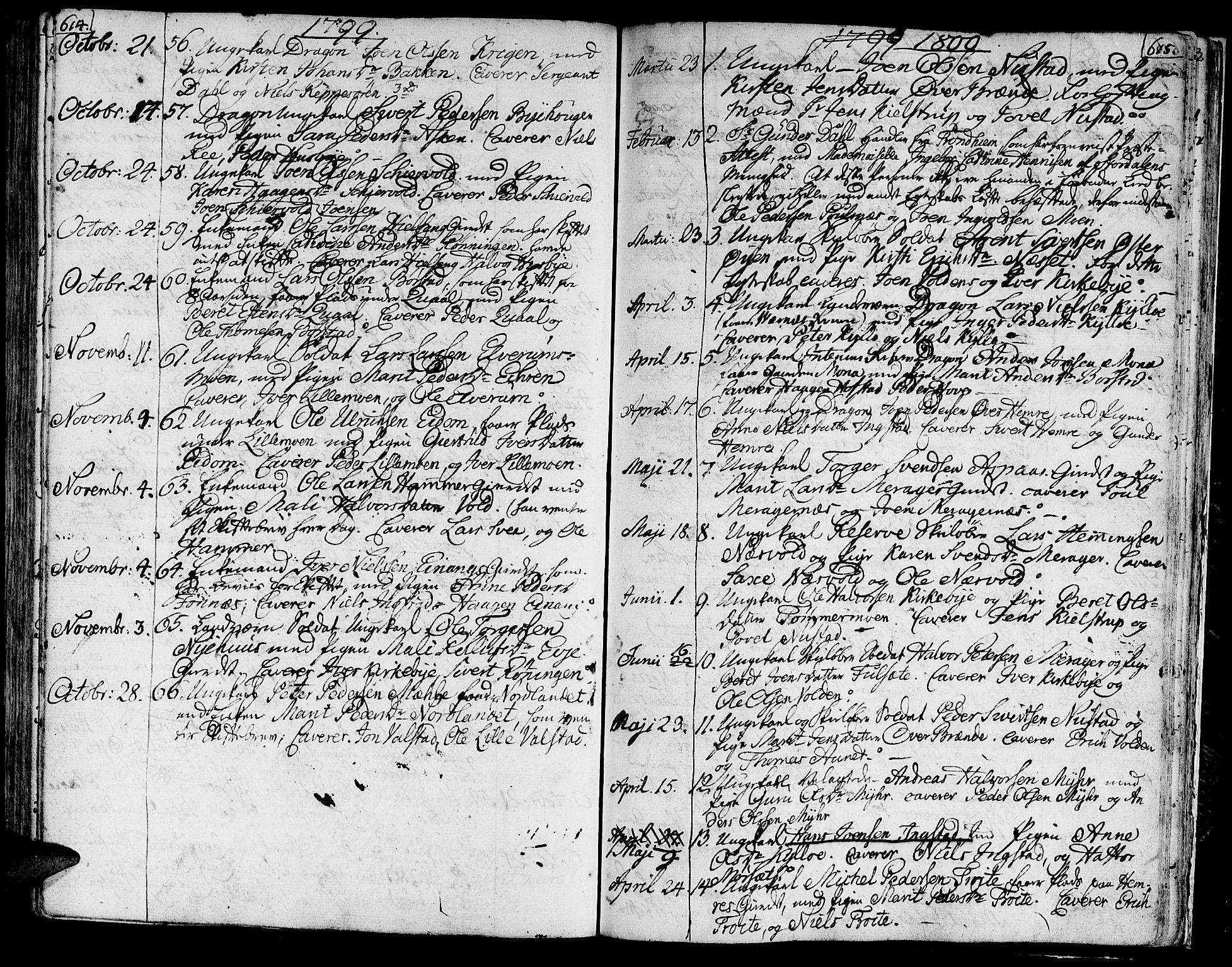 SAT, Ministerialprotokoller, klokkerbøker og fødselsregistre - Nord-Trøndelag, 709/L0060: Ministerialbok nr. 709A07, 1797-1815, s. 614-615