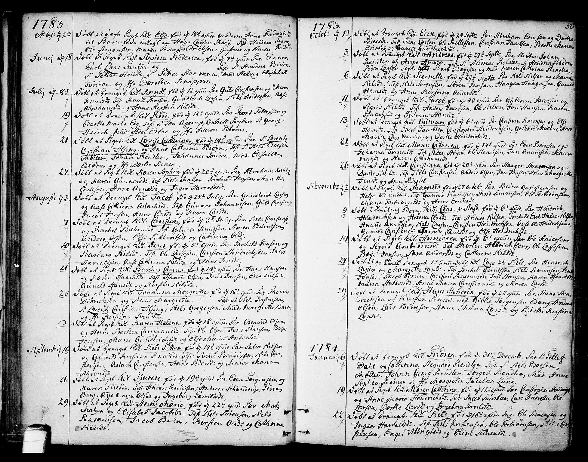 SAKO, Kragerø kirkebøker, F/Fa/L0002: Ministerialbok nr. 2, 1767-1802, s. 50