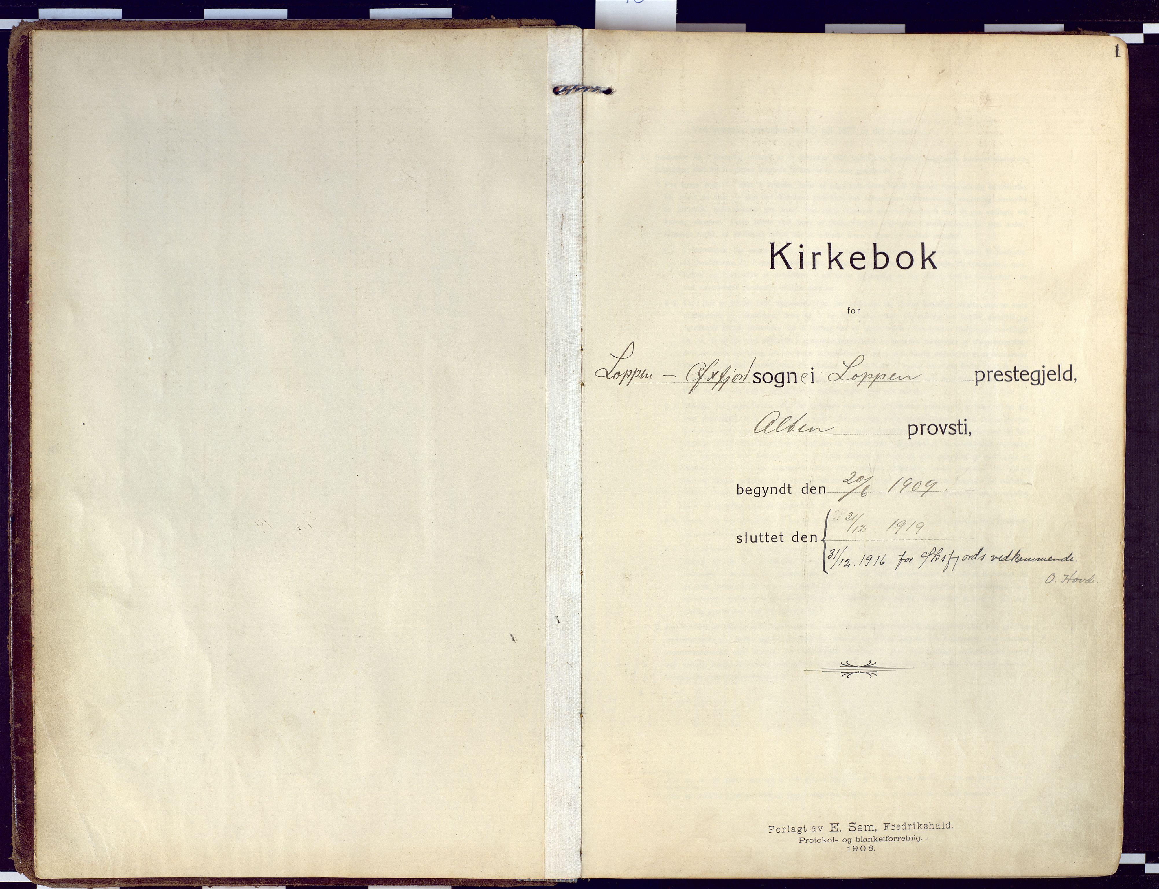 SATØ, Loppa sokneprestkontor, H/Ha/L0011kirke: Ministerialbok nr. 11, 1909-1919, s. 1