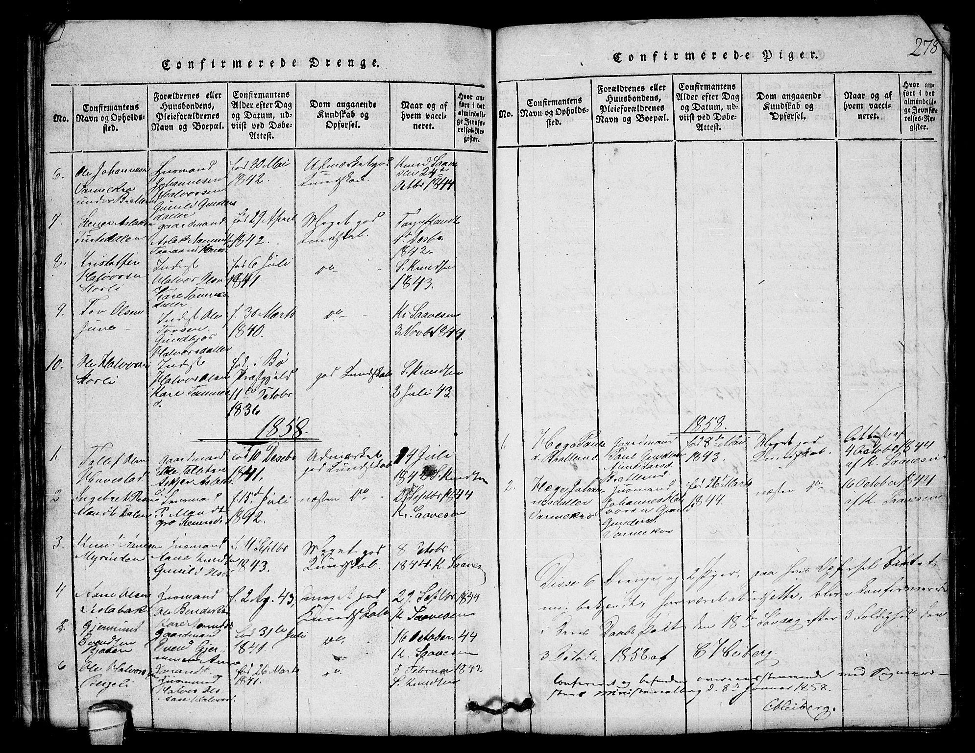 SAKO, Lårdal kirkebøker, G/Gb/L0001: Klokkerbok nr. II 1, 1815-1865, s. 278