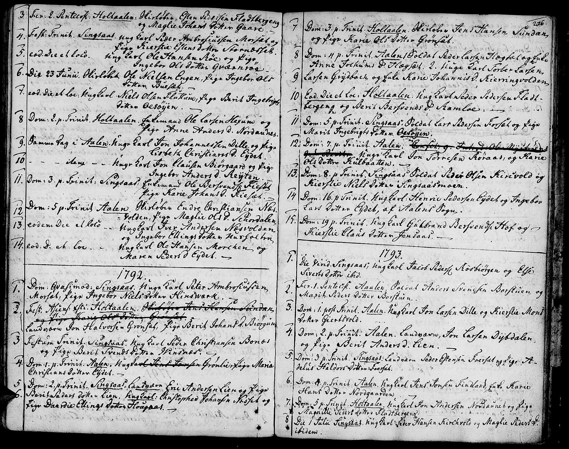 SAT, Ministerialprotokoller, klokkerbøker og fødselsregistre - Sør-Trøndelag, 685/L0952: Ministerialbok nr. 685A01, 1745-1804, s. 216