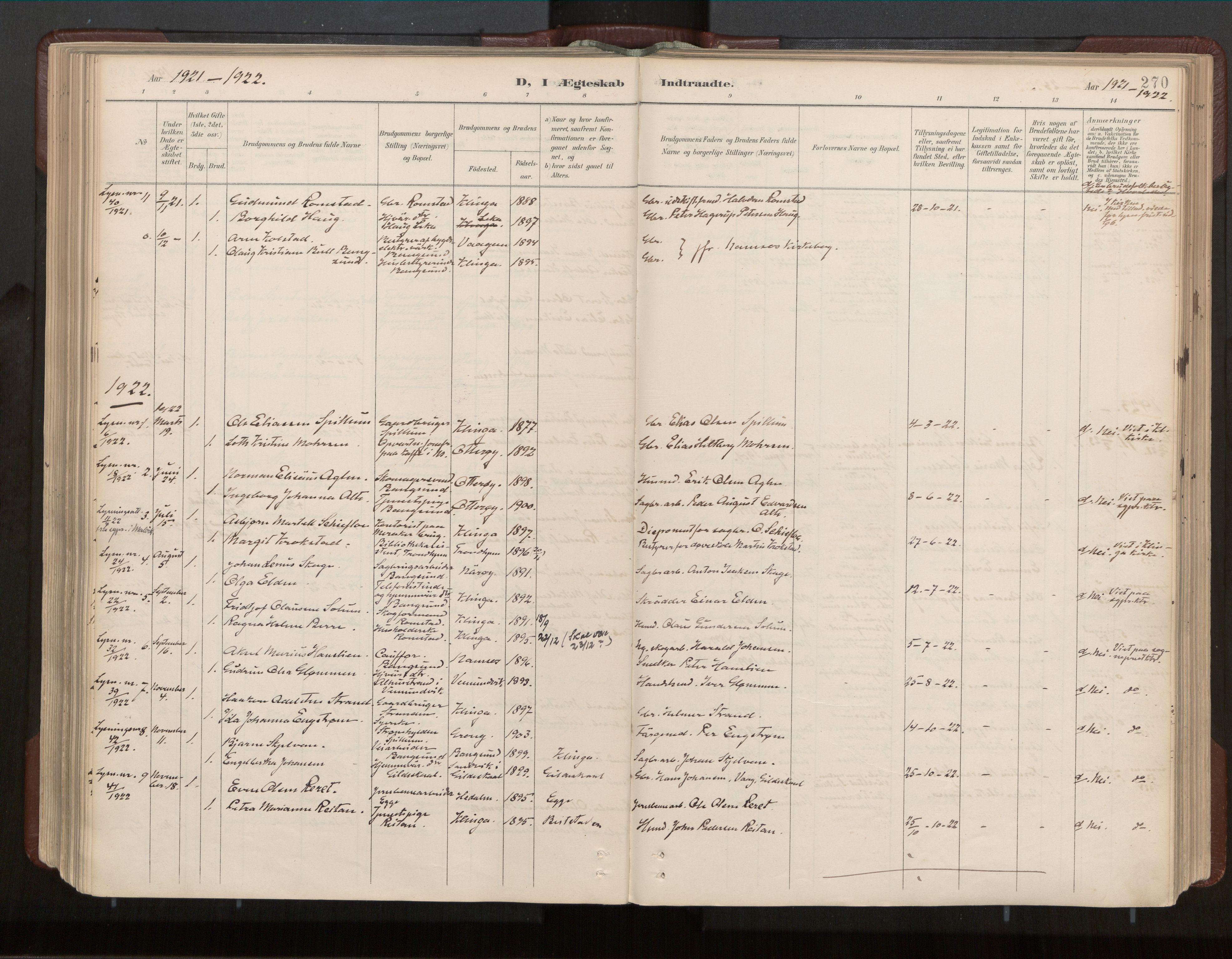 SAT, Ministerialprotokoller, klokkerbøker og fødselsregistre - Nord-Trøndelag, 770/L0589: Ministerialbok nr. 770A03, 1887-1929, s. 270