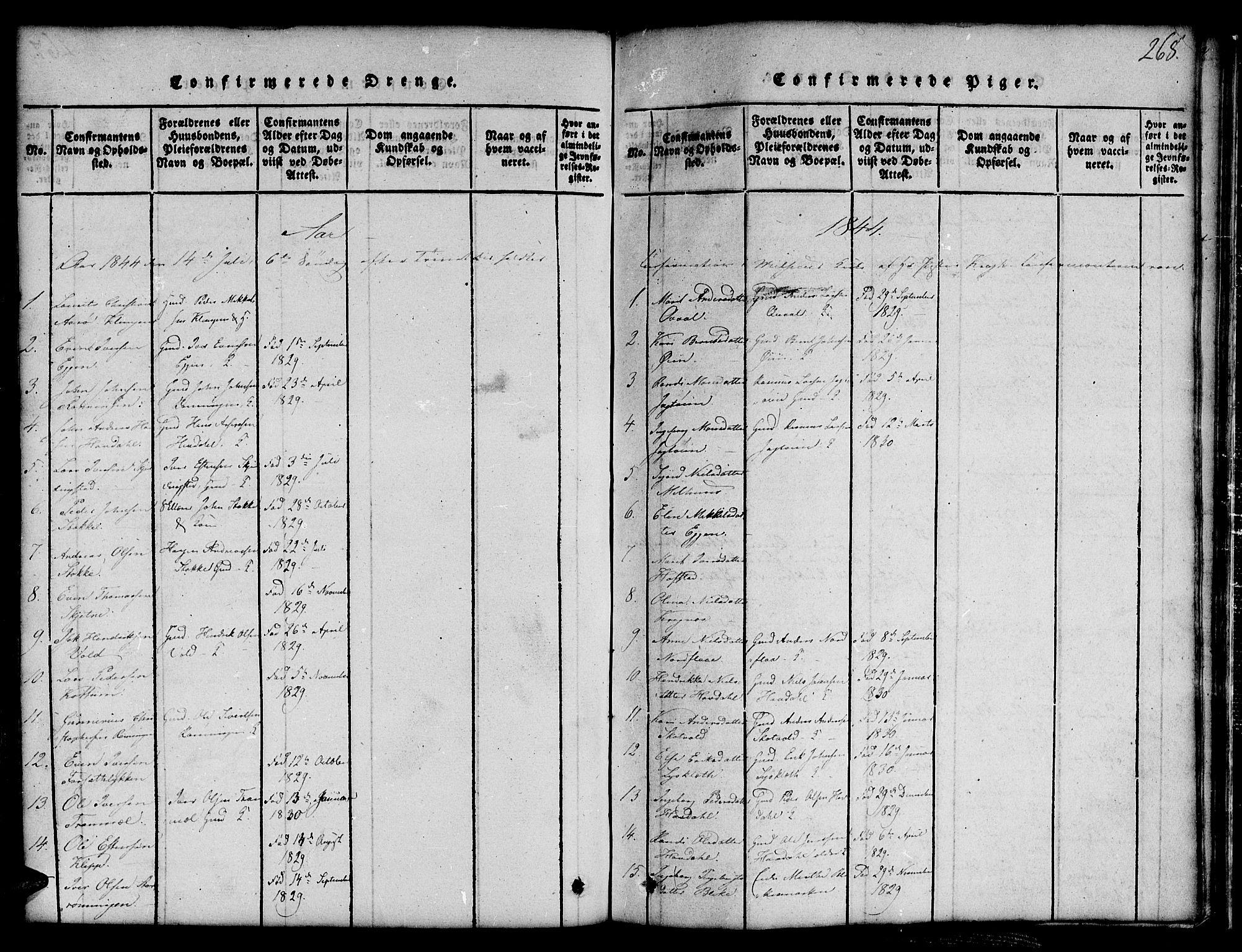 SAT, Ministerialprotokoller, klokkerbøker og fødselsregistre - Sør-Trøndelag, 691/L1092: Klokkerbok nr. 691C03, 1816-1852, s. 268