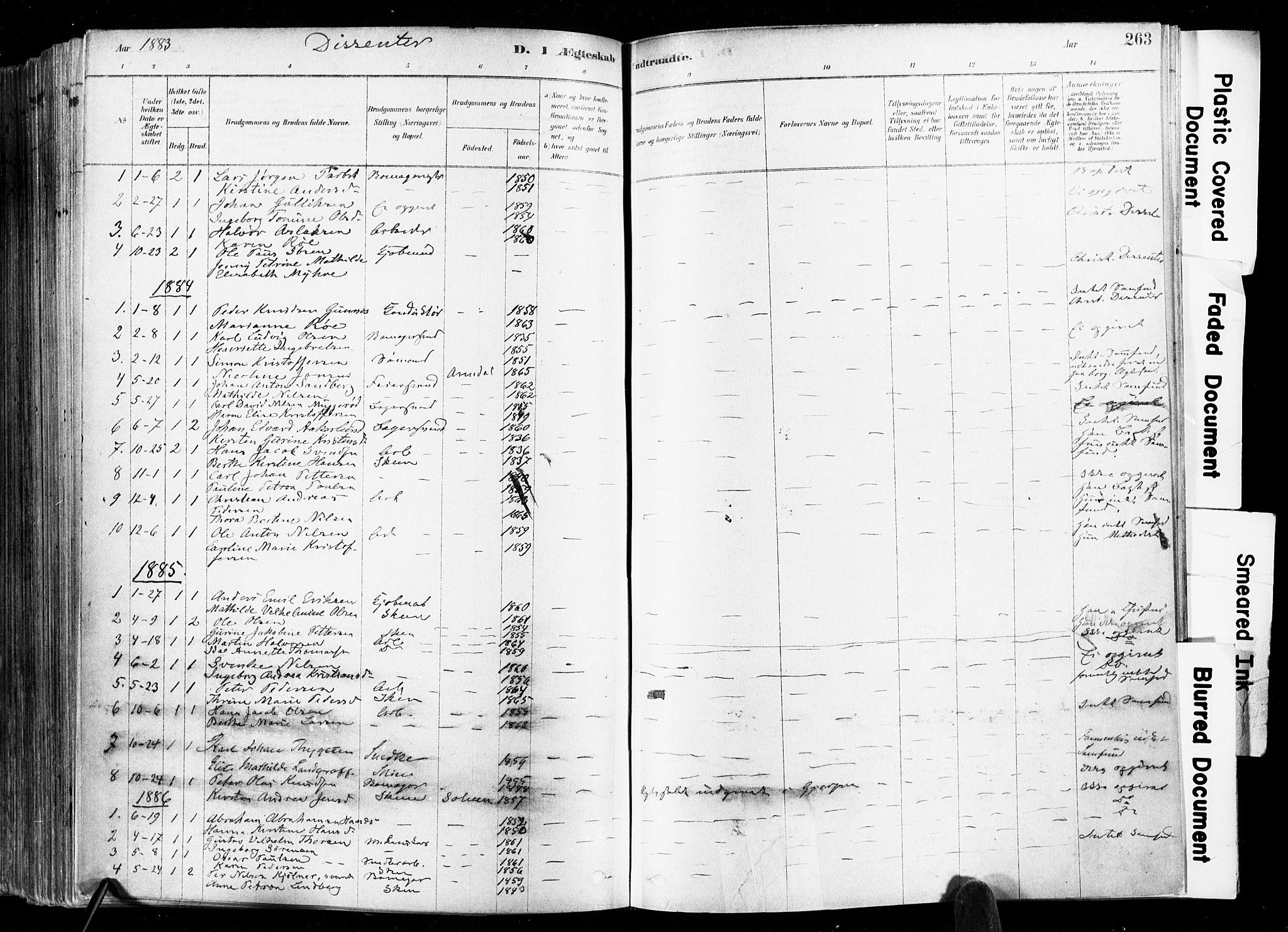 SAKO, Skien kirkebøker, F/Fa/L0009: Ministerialbok nr. 9, 1878-1890, s. 263