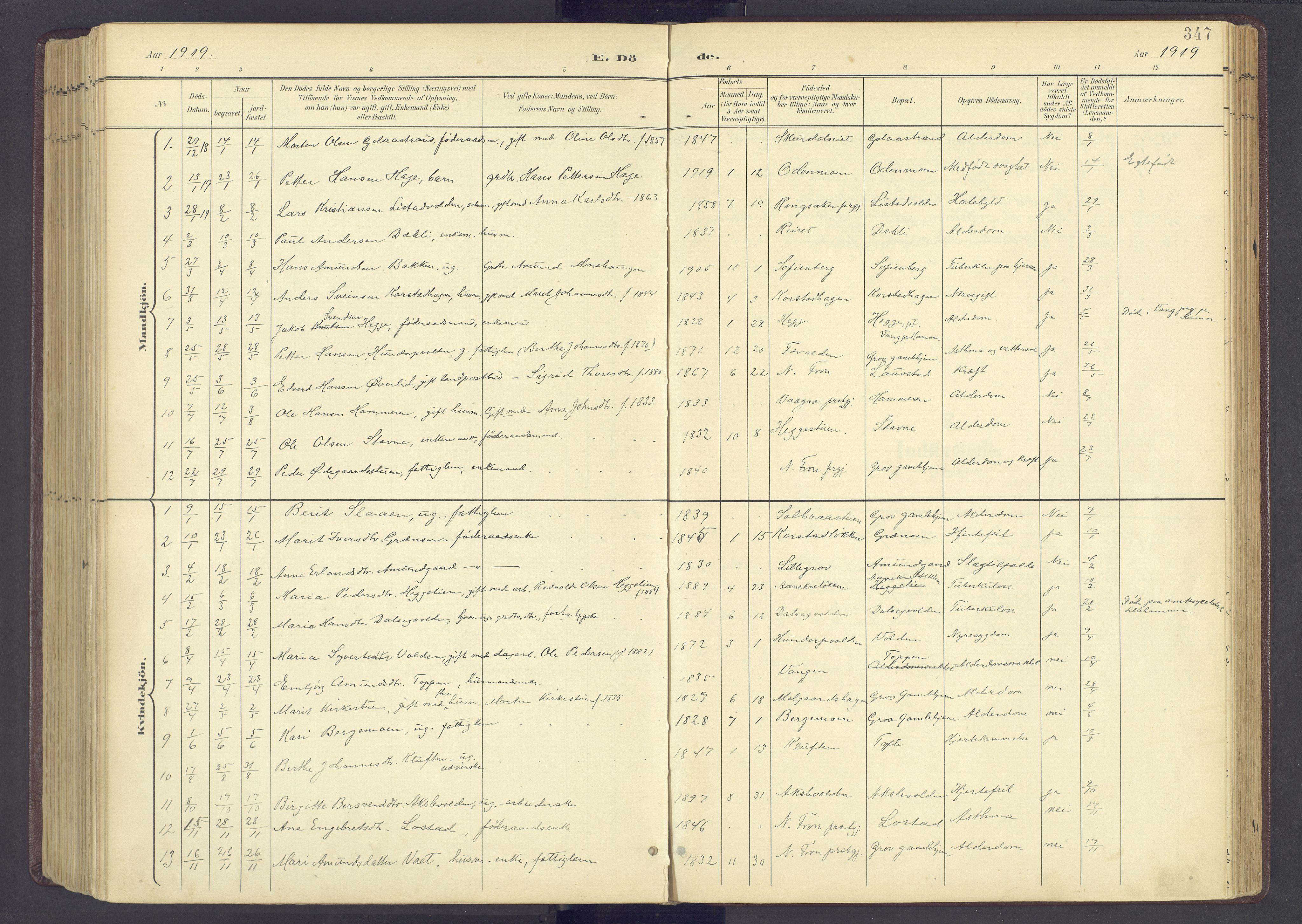 SAH, Sør-Fron prestekontor, H/Ha/Haa/L0004: Ministerialbok nr. 4, 1898-1919, s. 347