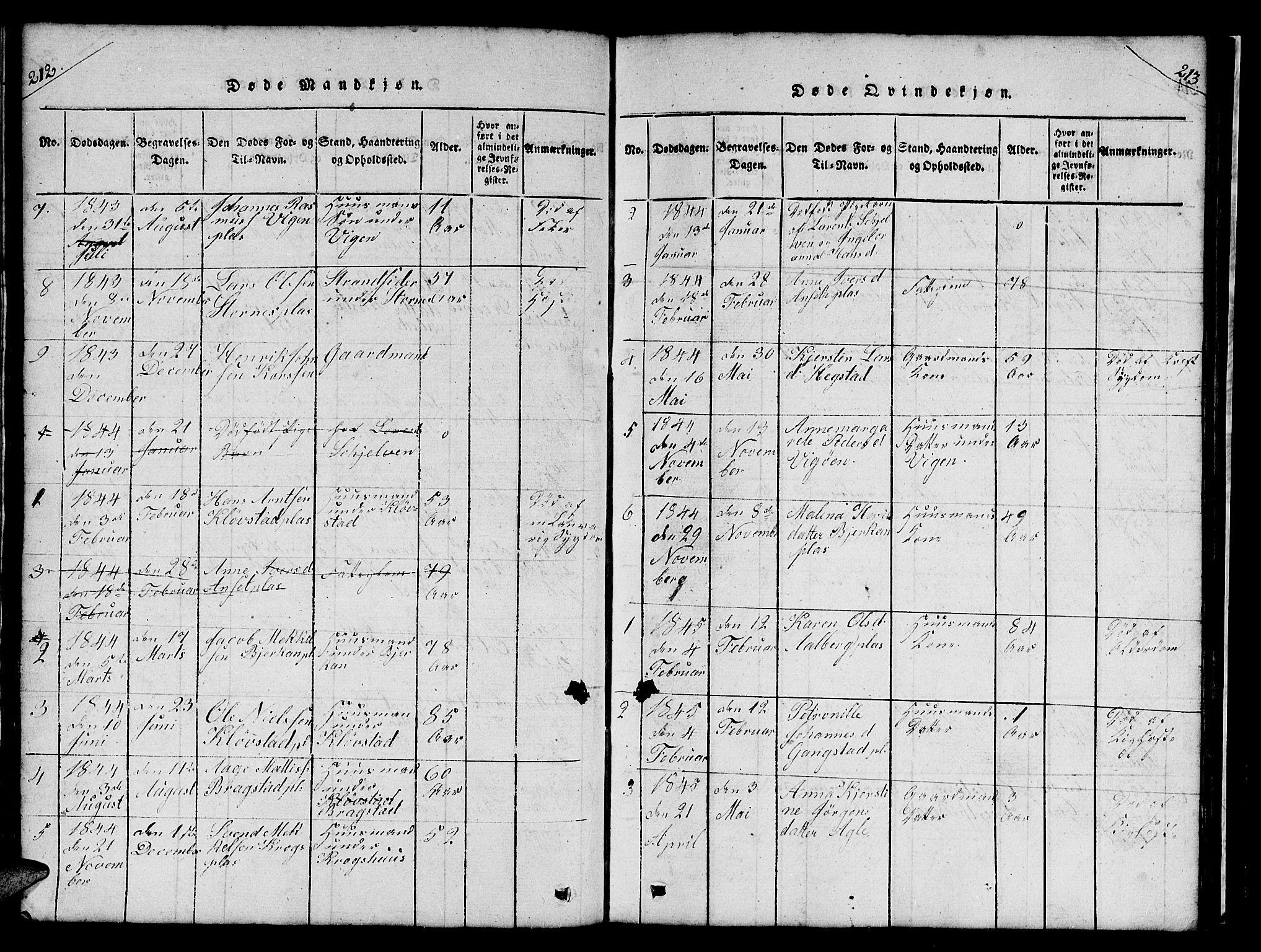 SAT, Ministerialprotokoller, klokkerbøker og fødselsregistre - Nord-Trøndelag, 732/L0317: Klokkerbok nr. 732C01, 1816-1881, s. 212-213