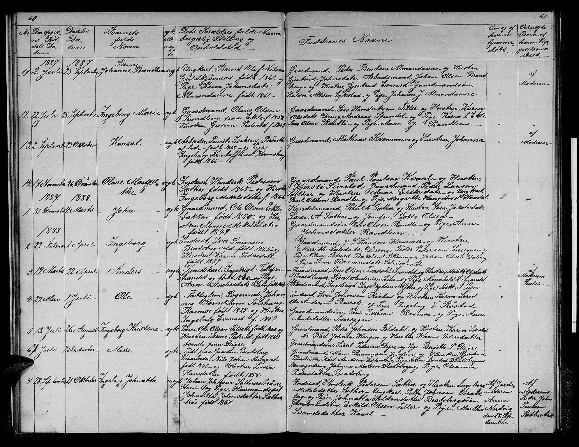 SAT, Ministerialprotokoller, klokkerbøker og fødselsregistre - Sør-Trøndelag, 608/L0340: Klokkerbok nr. 608C06, 1864-1889, s. 60-61