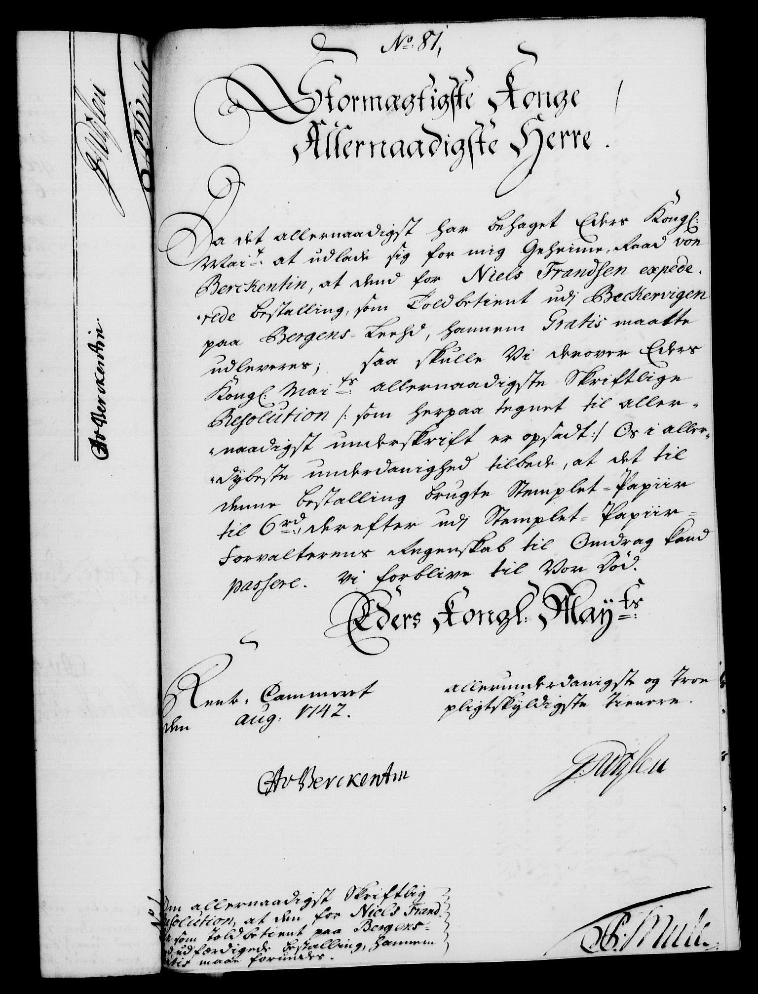 RA, Rentekammeret, Kammerkanselliet, G/Gf/Gfa/L0025: Norsk relasjons- og resolusjonsprotokoll (merket RK 52.25), 1742, s. 526