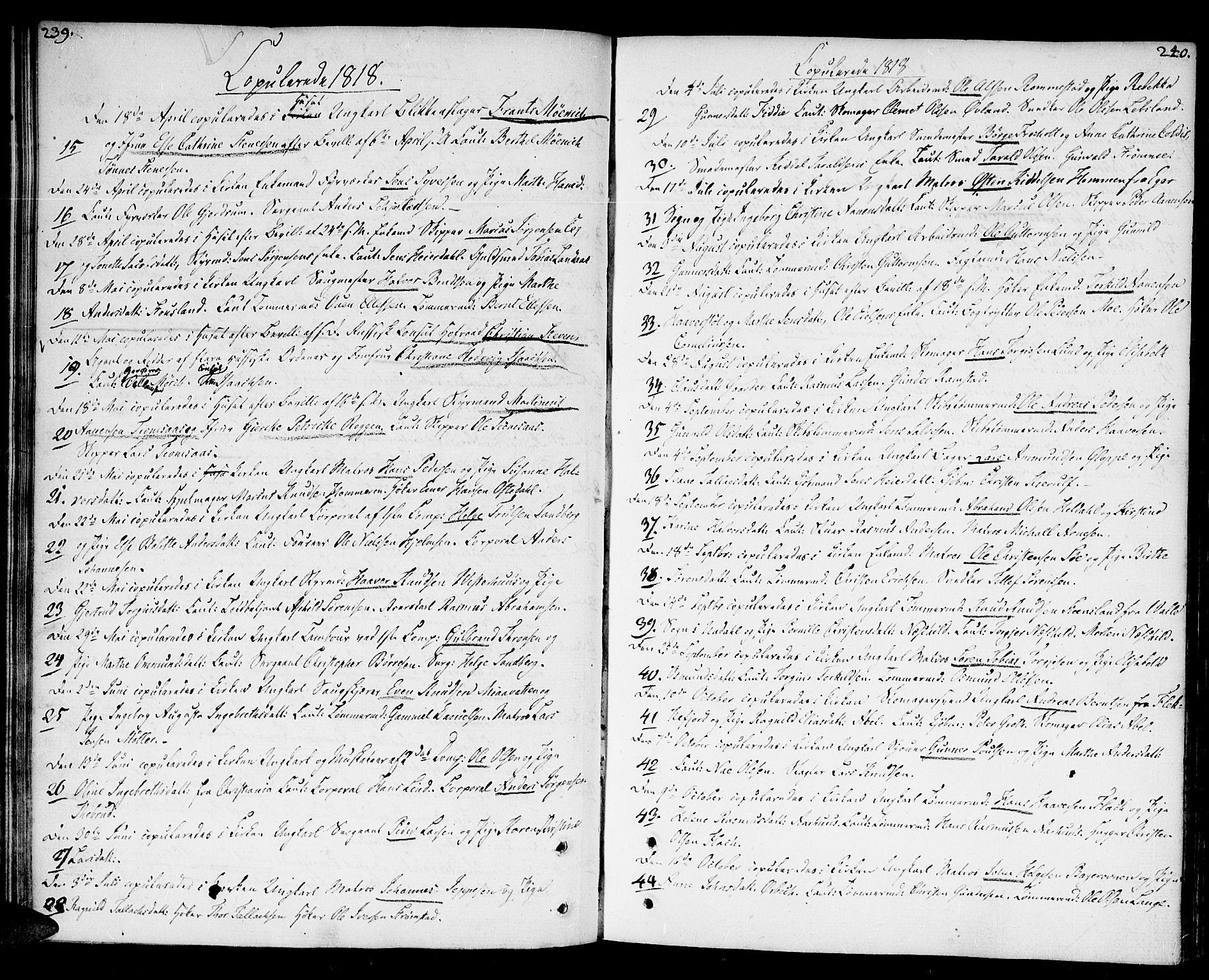 SAK, Kristiansand domprosti, F/Fa/L0005: Ministerialbok nr. A 5, 1776-1818, s. 239-240