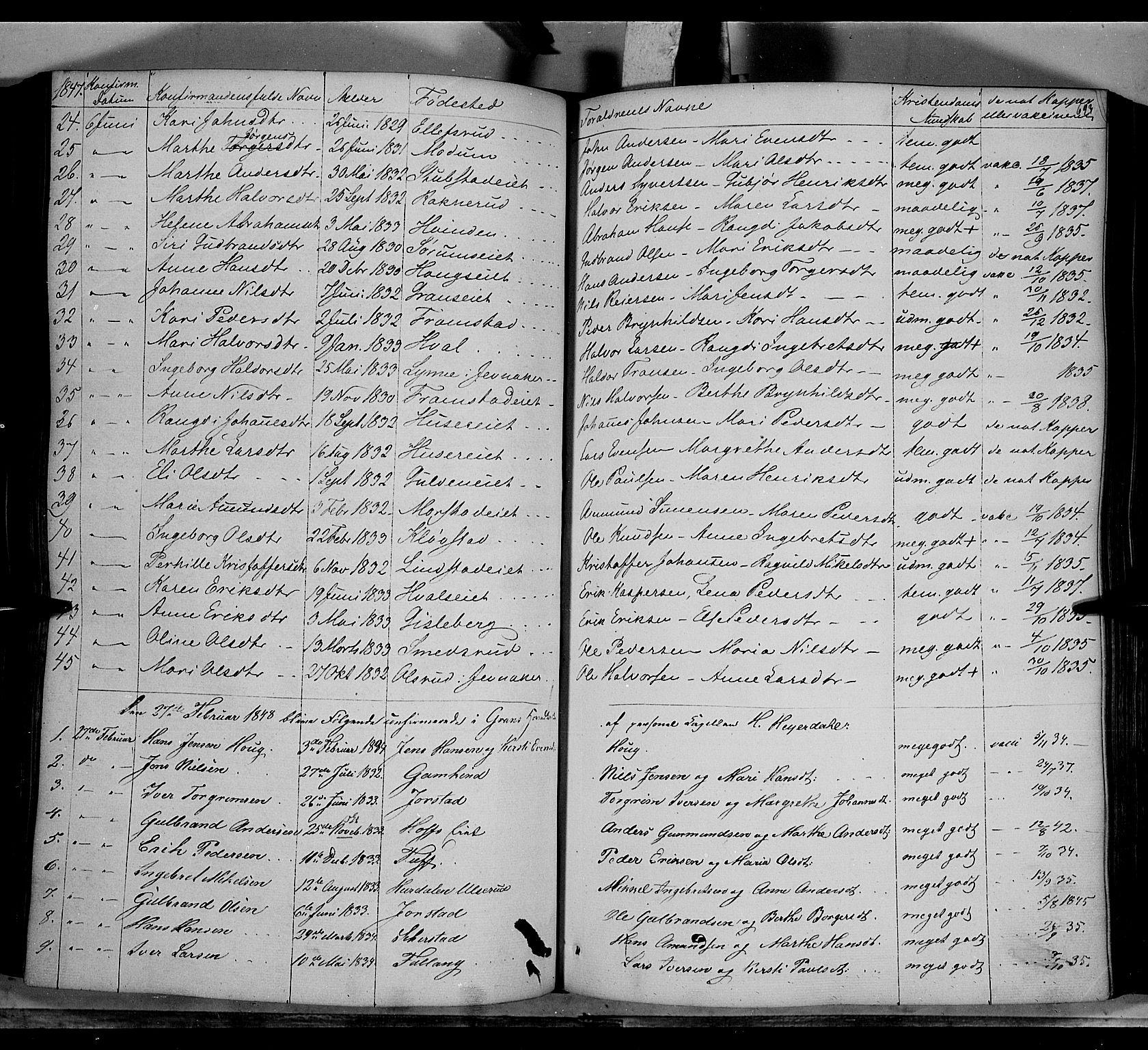 SAH, Gran prestekontor, Ministerialbok nr. 11, 1842-1856, s. 692-693