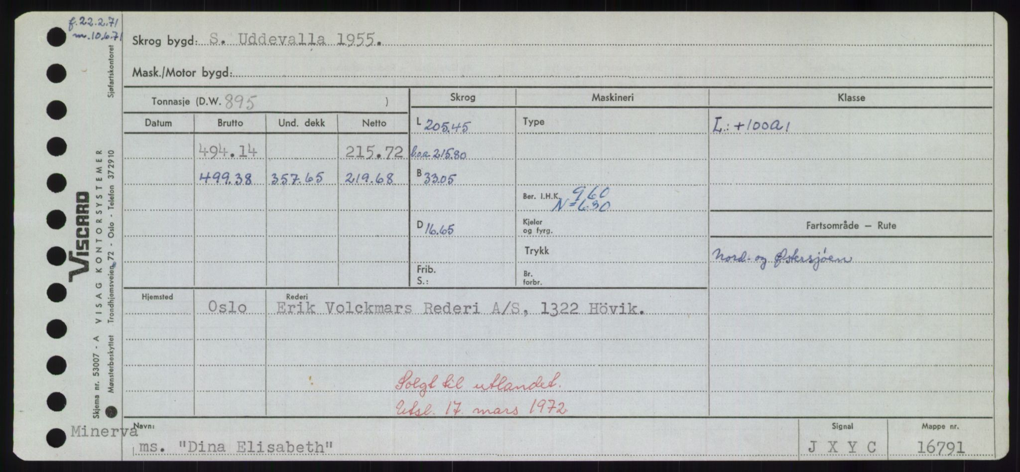 RA, Sjøfartsdirektoratet med forløpere, Skipsmålingen, H/Hd/L0008: Fartøy, C-D, s. 491