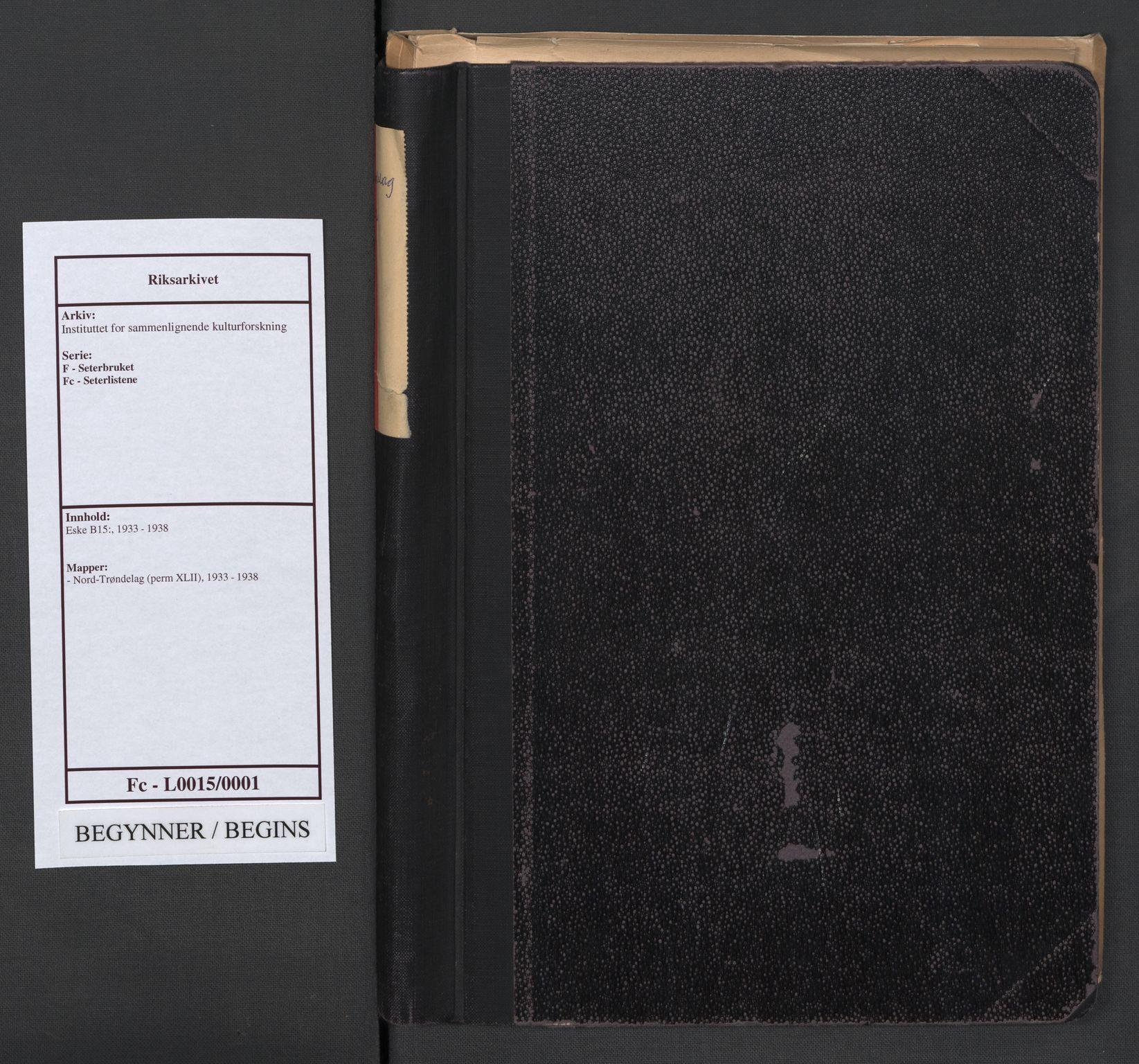 RA, Instituttet for sammenlignende kulturforskning, F/Fc/L0015: Eske B15:, 1933-1938, s. upaginert