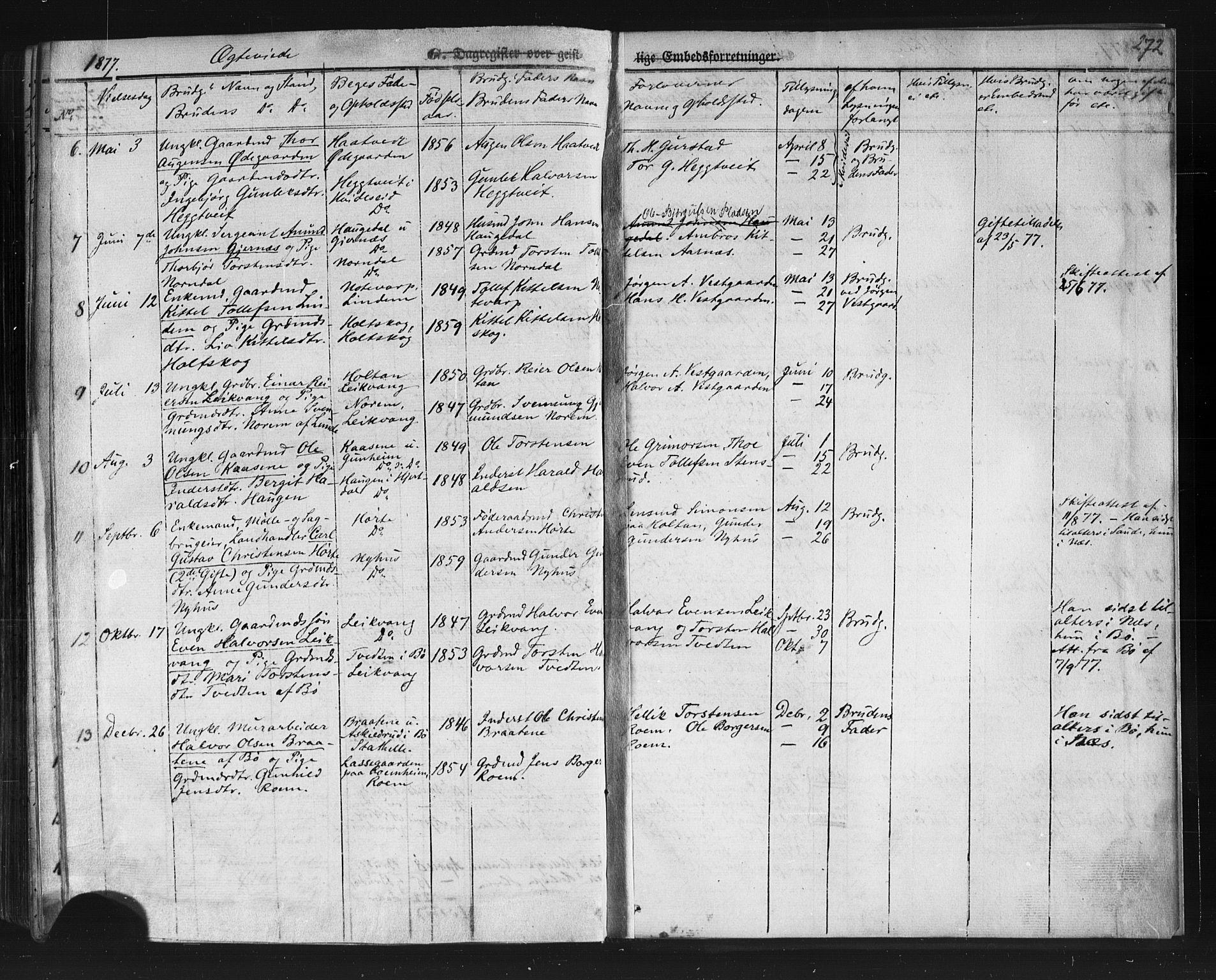 SAKO, Sauherad kirkebøker, F/Fb/L0001: Ministerialbok nr. II 1, 1851-1877, s. 272