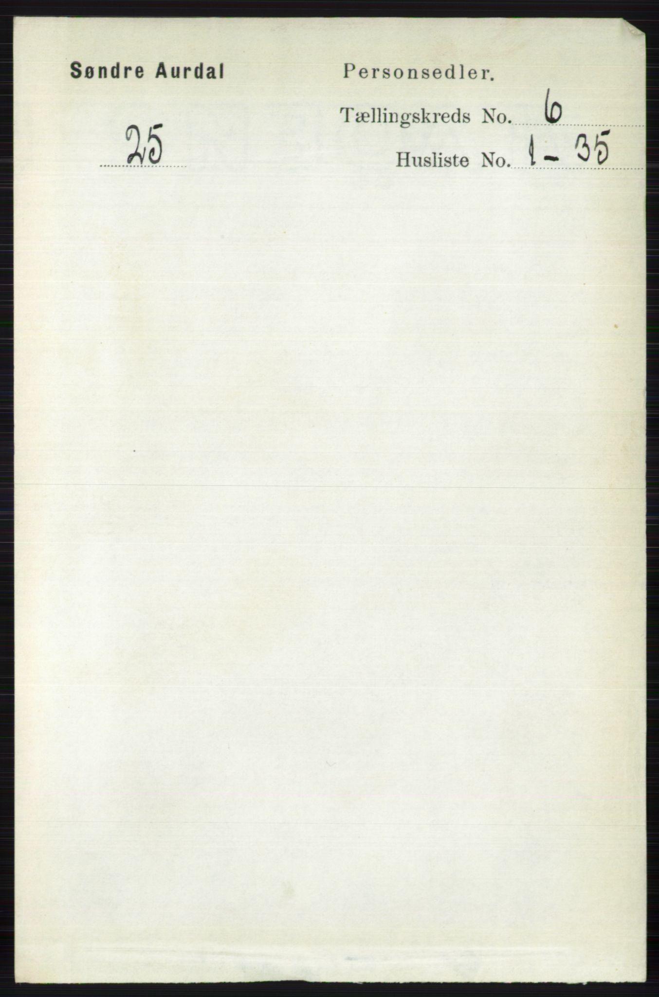 RA, Folketelling 1891 for 0540 Sør-Aurdal herred, 1891, s. 3810