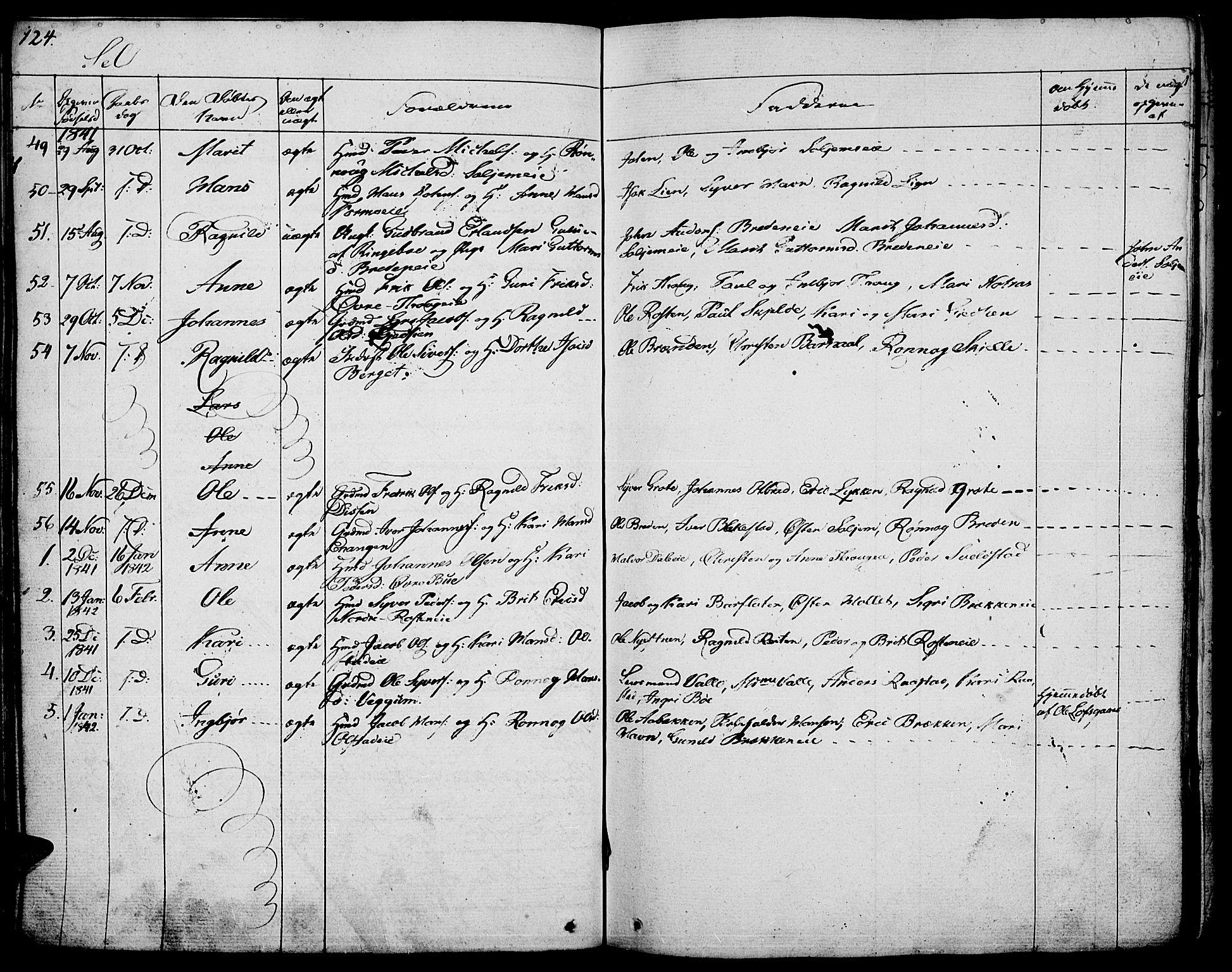 SAH, Vågå prestekontor, Ministerialbok nr. 4 /3, 1834-1842, s. 124