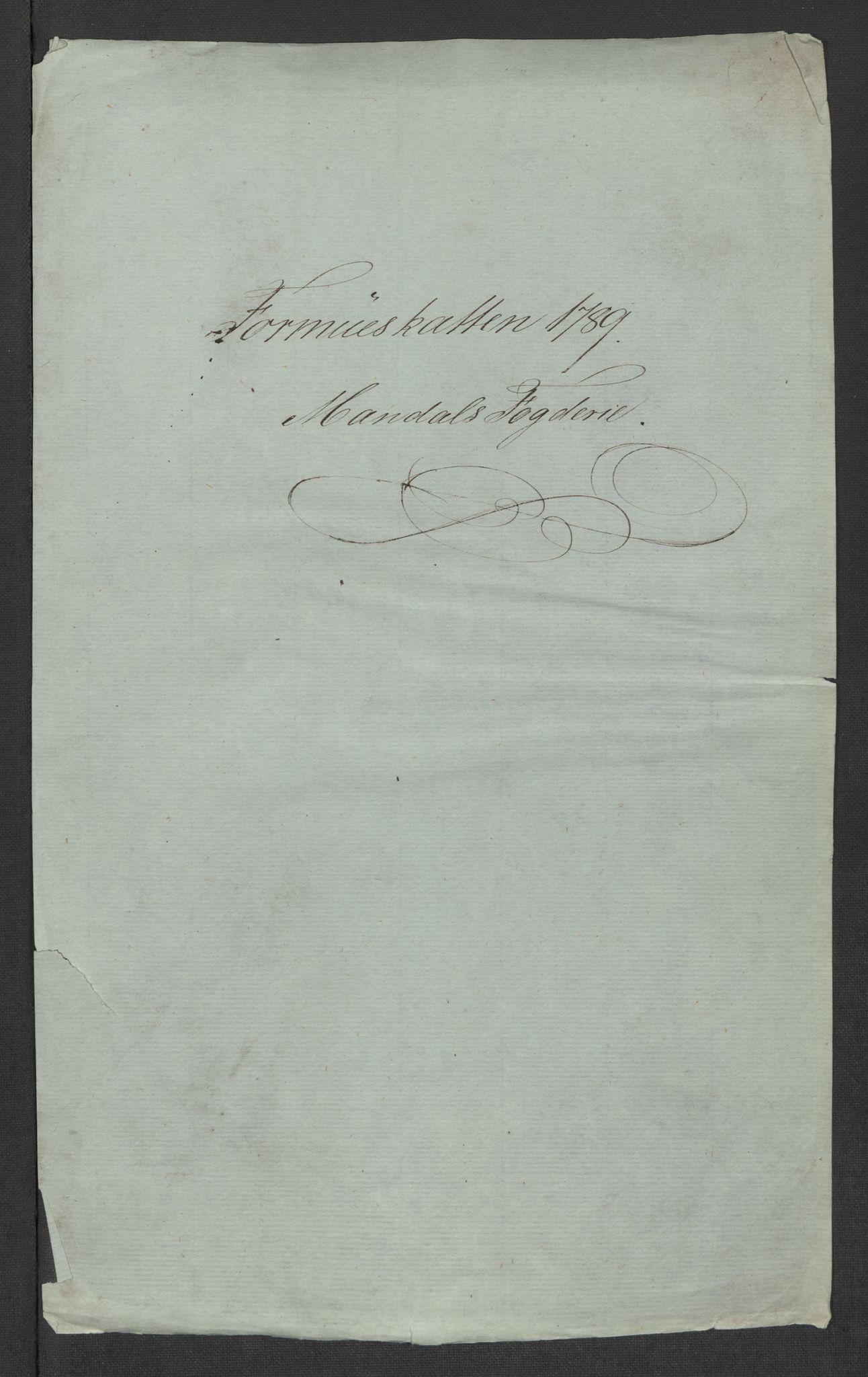 RA, Rentekammeret inntil 1814, Reviderte regnskaper, Mindre regnskaper, Rf/Rfe/L0023: Mandal fogderi, 1789, s. 3