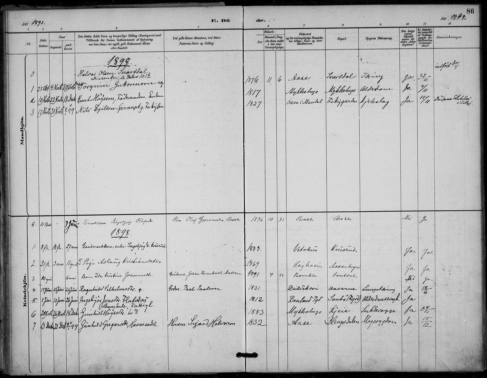 SAKO, Seljord kirkebøker, F/Fb/L0002: Ministerialbok nr. II 2, 1887-1917, s. 86