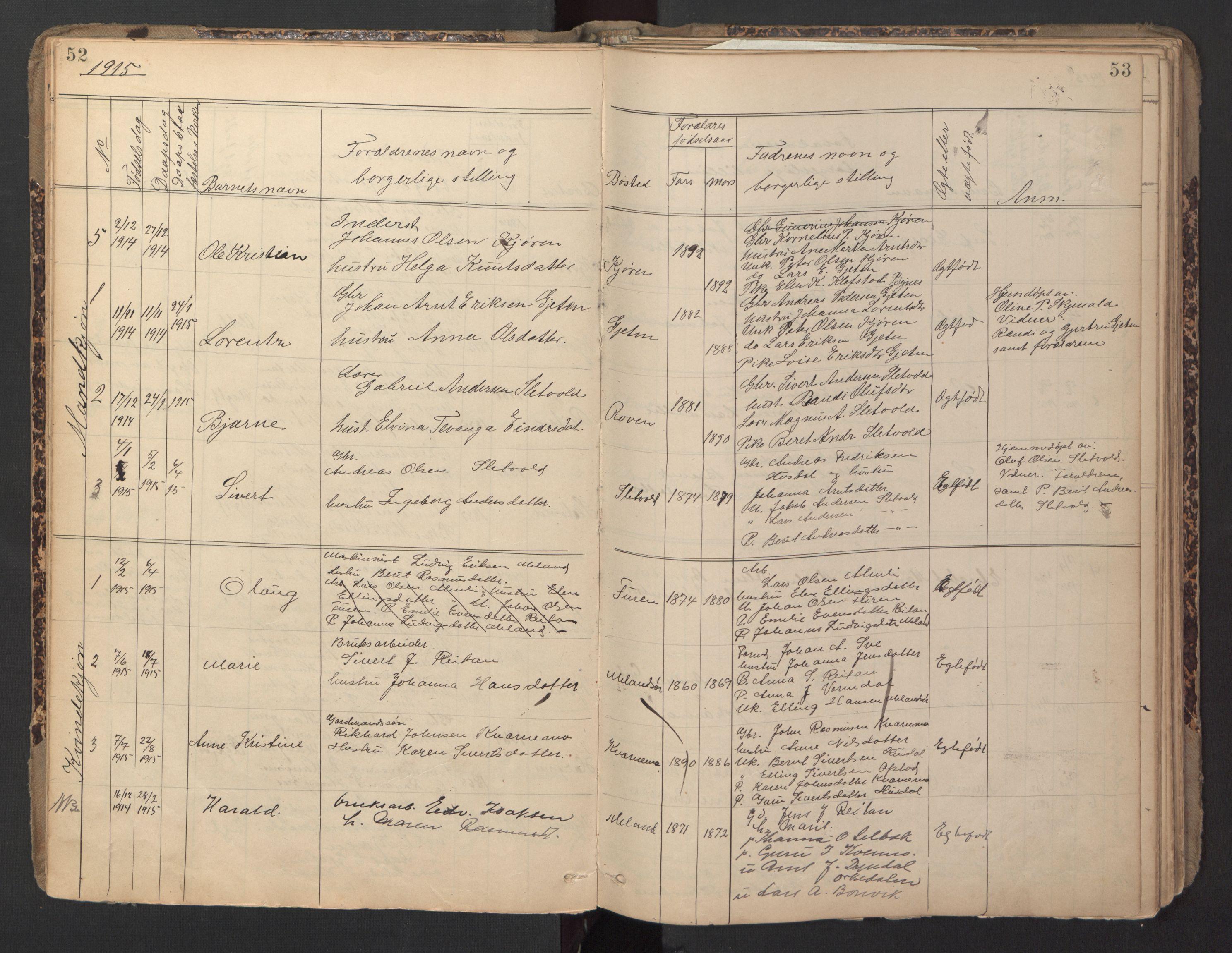 SAT, Ministerialprotokoller, klokkerbøker og fødselsregistre - Sør-Trøndelag, 670/L0837: Klokkerbok nr. 670C01, 1905-1946, s. 52-53