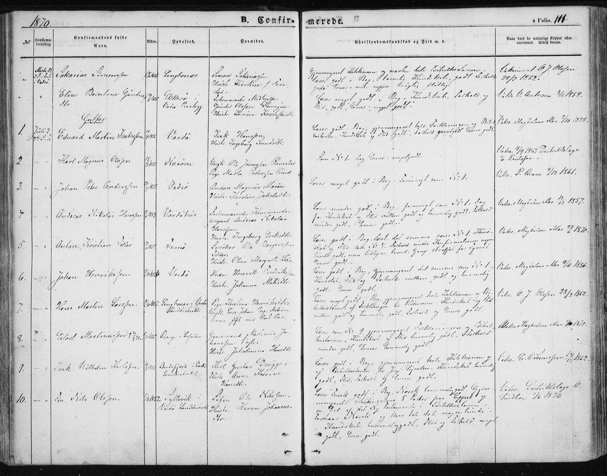 SATØ, Vardø sokneprestkontor, H/Ha/L0004kirke: Ministerialbok nr. 4, 1862-1871, s. 111