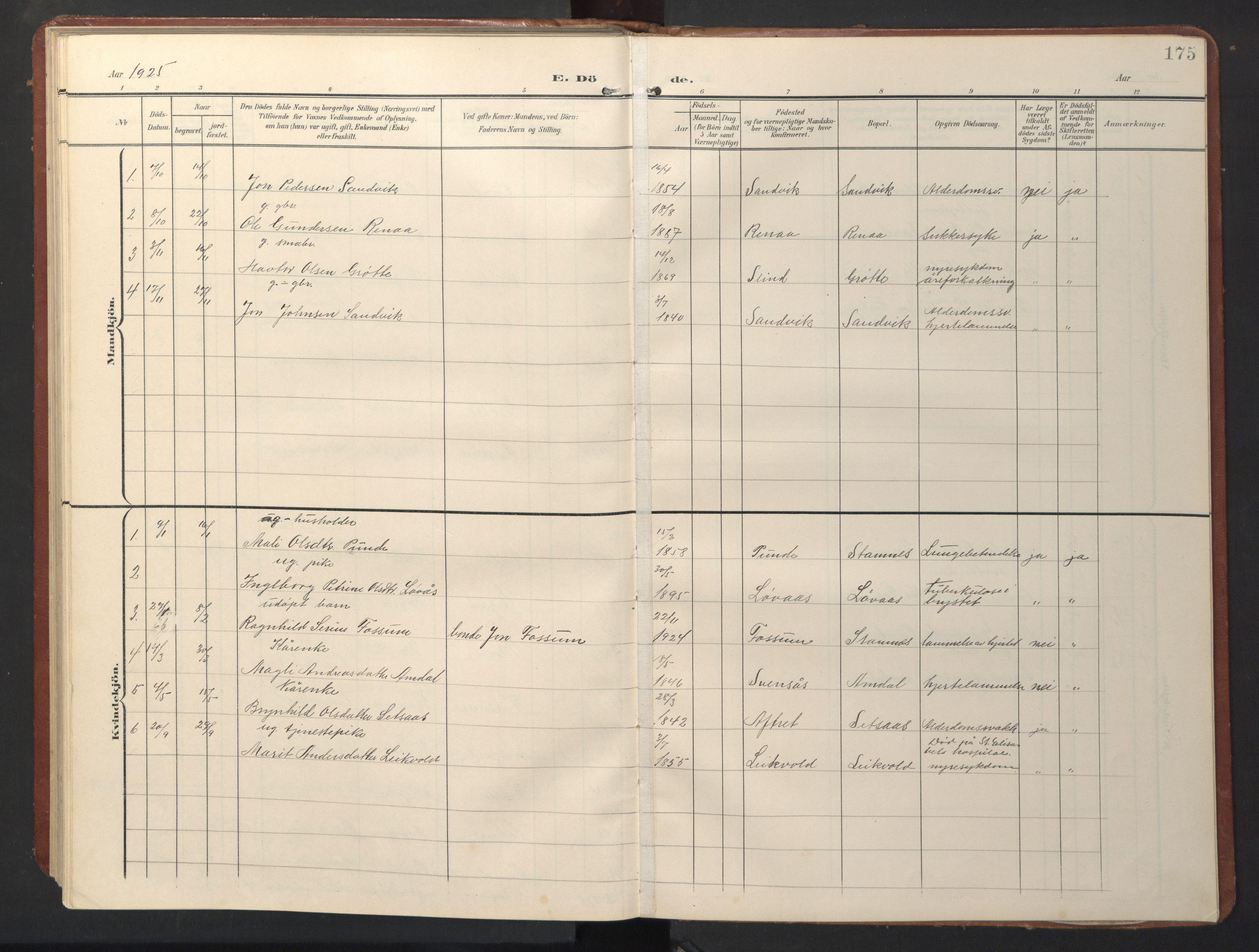 SAT, Ministerialprotokoller, klokkerbøker og fødselsregistre - Sør-Trøndelag, 696/L1161: Klokkerbok nr. 696C01, 1902-1950, s. 175