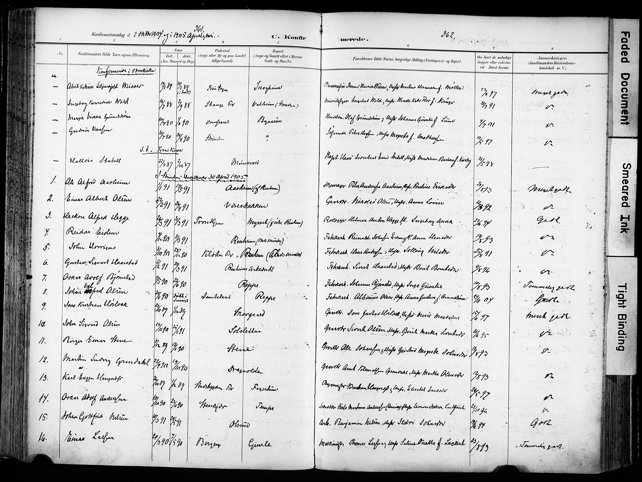 SAT, Ministerialprotokoller, klokkerbøker og fødselsregistre - Sør-Trøndelag, 606/L0301: Ministerialbok nr. 606A16, 1894-1907, s. 361-362