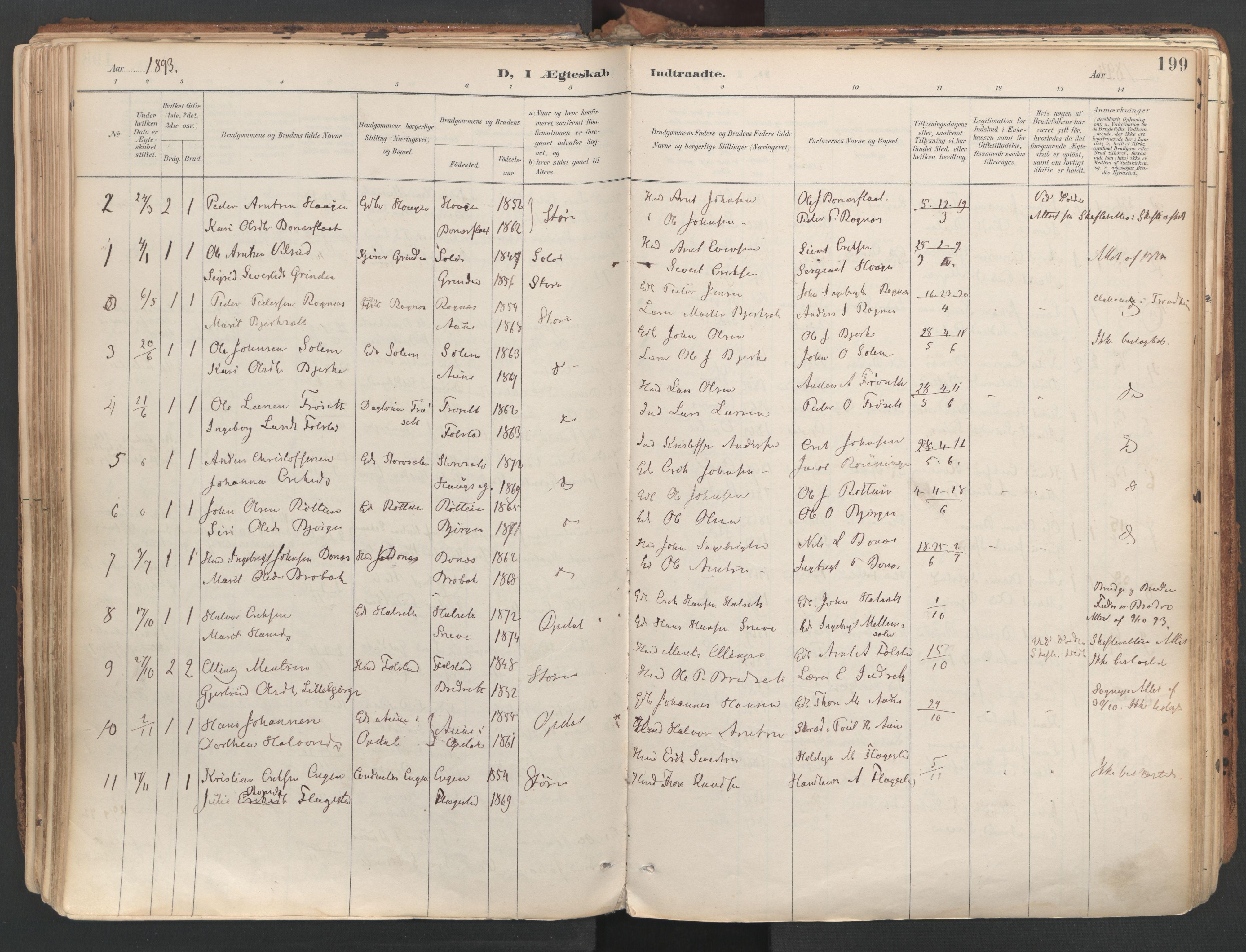 SAT, Ministerialprotokoller, klokkerbøker og fødselsregistre - Sør-Trøndelag, 687/L1004: Ministerialbok nr. 687A10, 1891-1923, s. 199