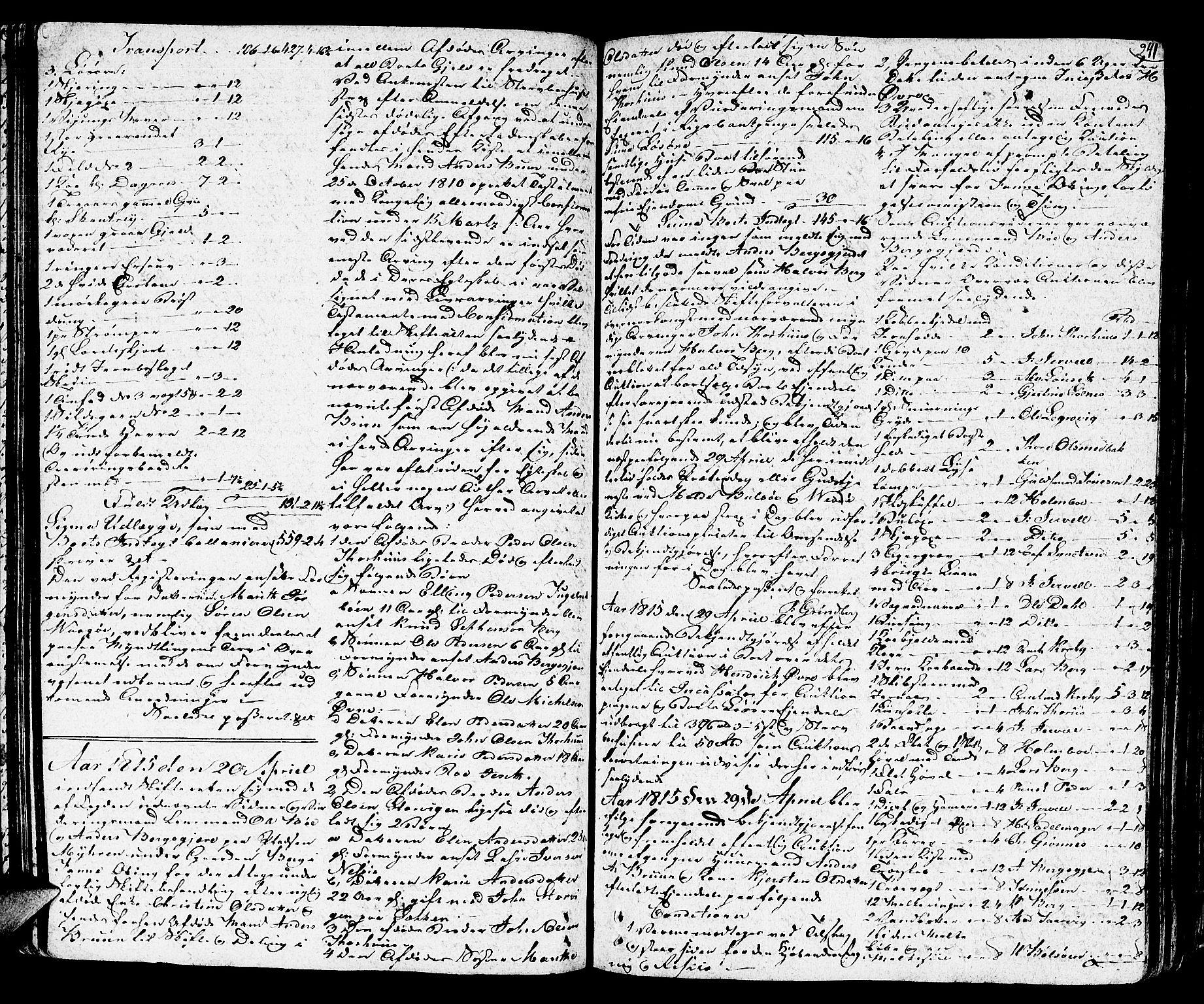 SAT, Romsdal sorenskriveri, 3/3A/L0014: Skifteprotokoll, 1811-1821, s. 240b-241a