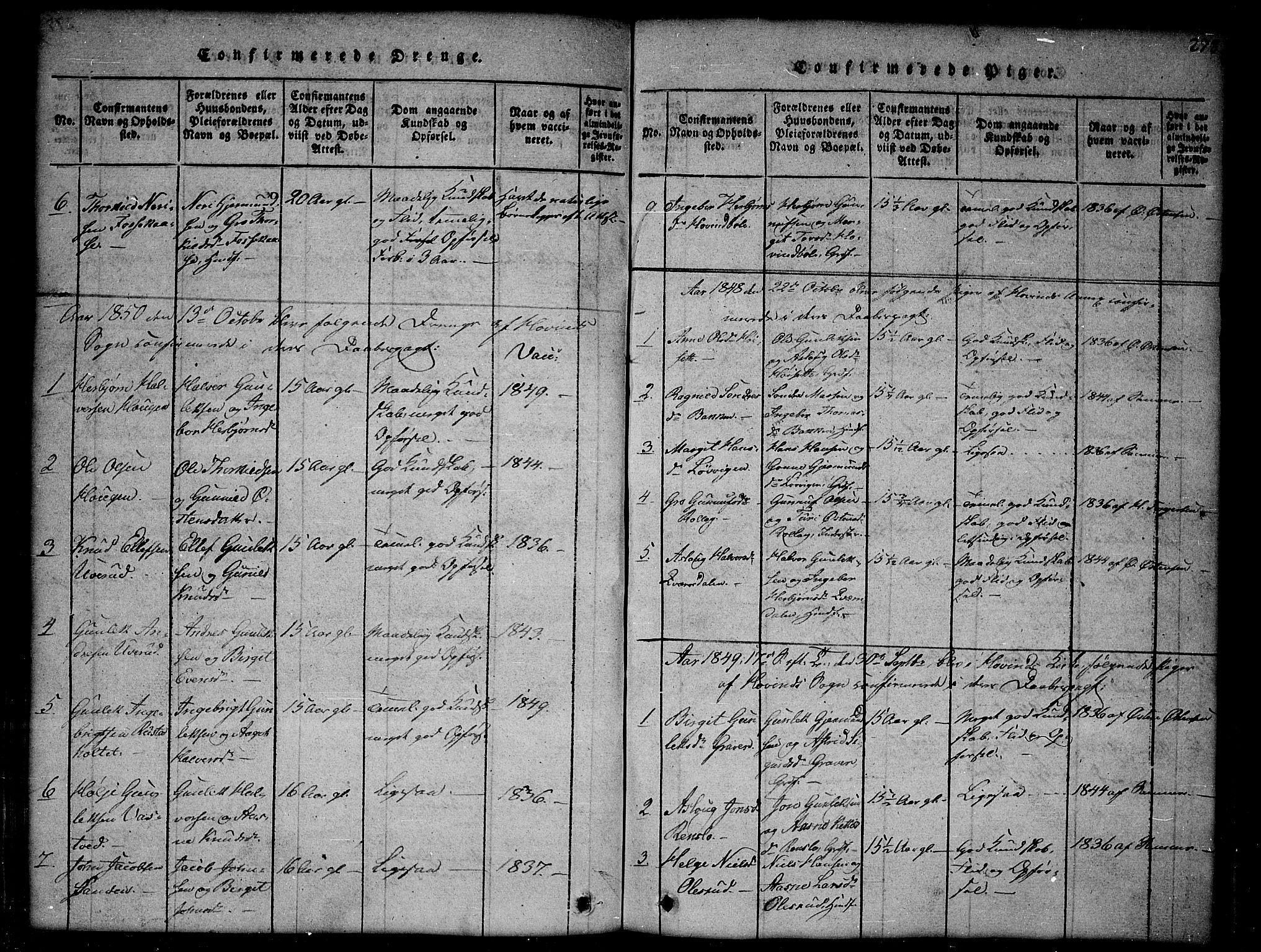 SAKO, Gransherad kirkebøker, G/Gb/L0001: Klokkerbok nr. II 1, 1815-1860, s. 278