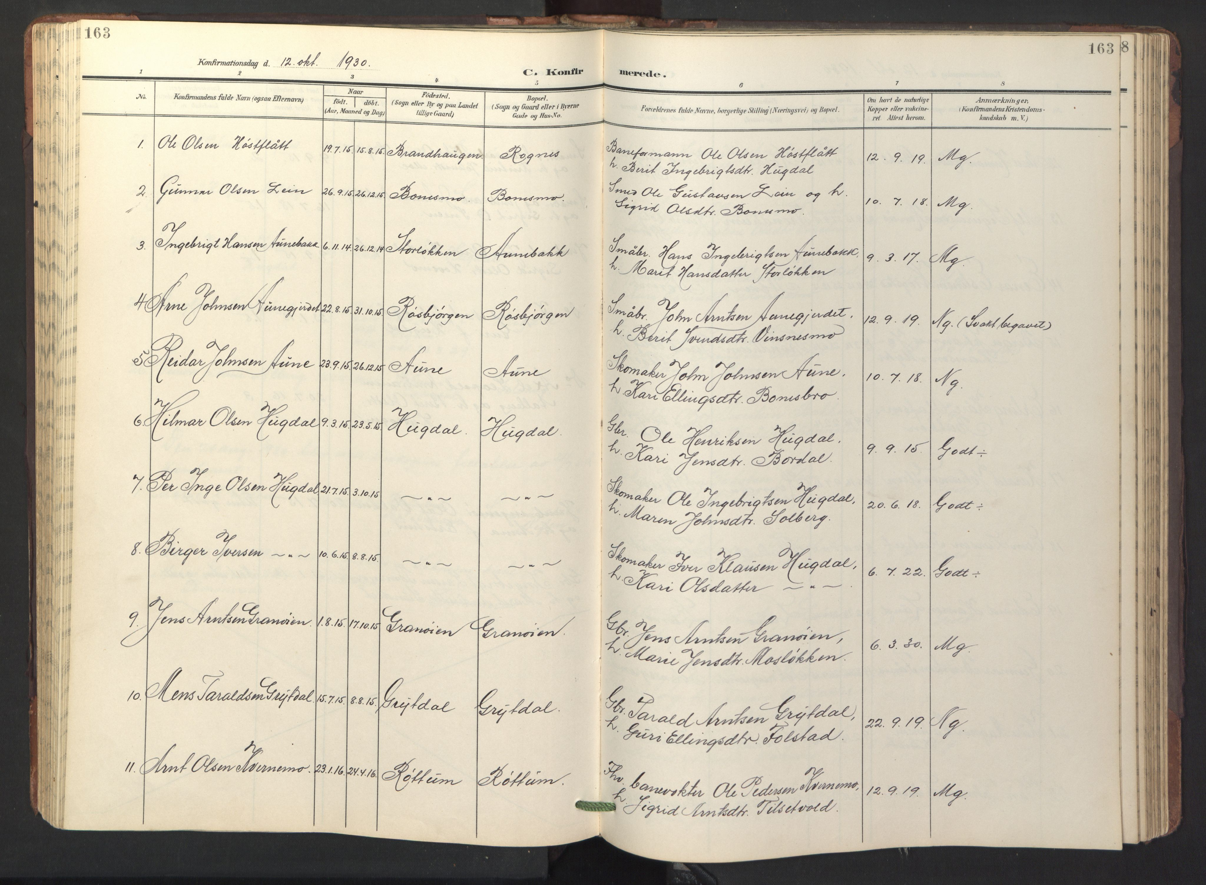 SAT, Ministerialprotokoller, klokkerbøker og fødselsregistre - Sør-Trøndelag, 687/L1019: Klokkerbok nr. 687C03, 1904-1931, s. 163