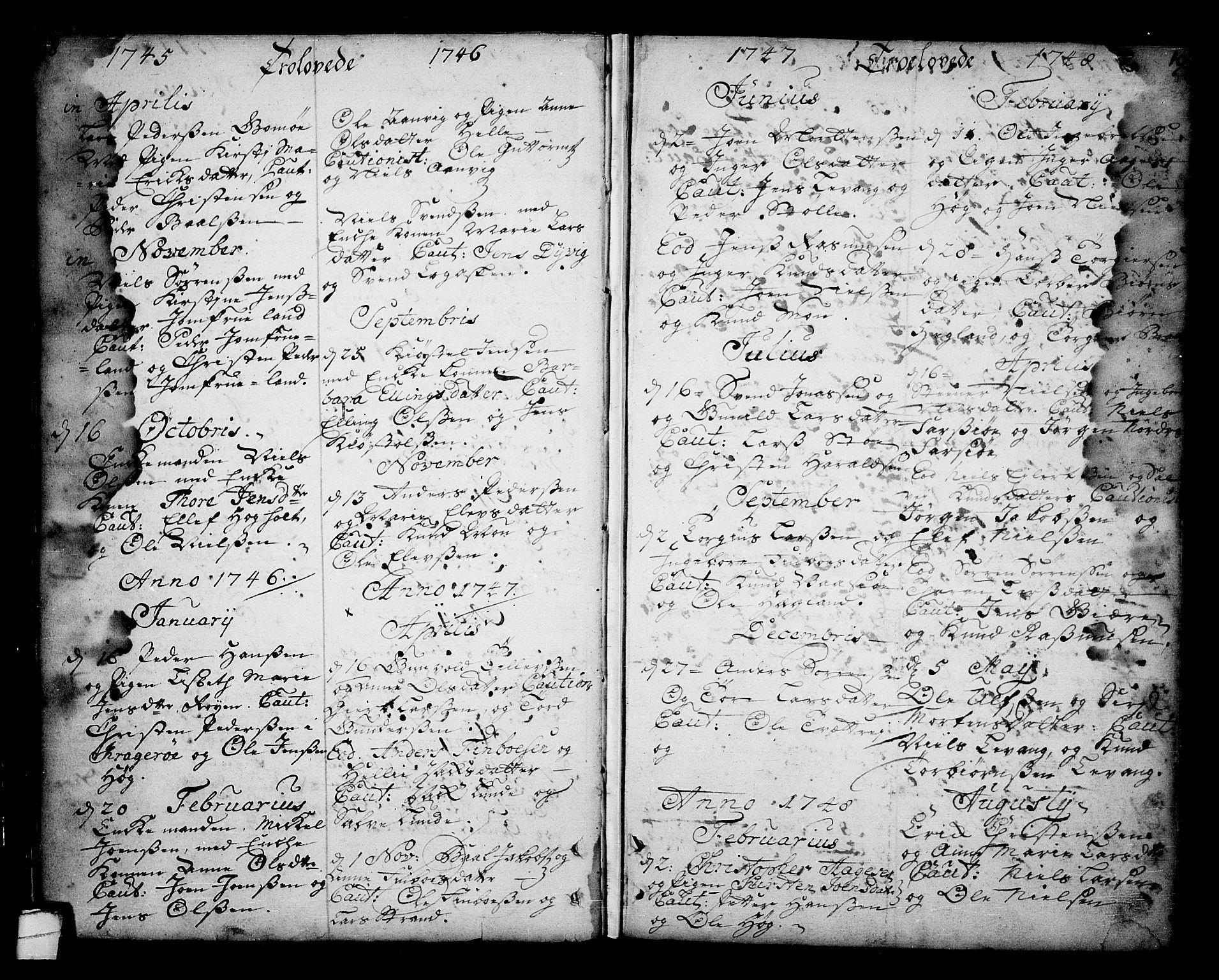 SAKO, Sannidal kirkebøker, F/Fa/L0001: Ministerialbok nr. 1, 1702-1766, s. 18-19