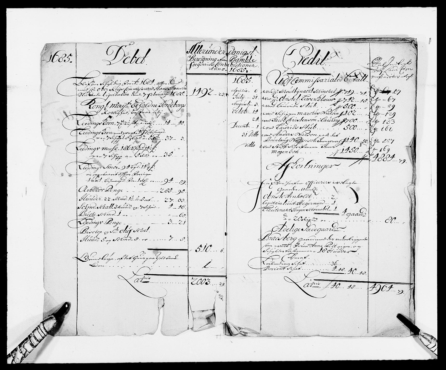 RA, Rentekammeret inntil 1814, Reviderte regnskaper, Fogderegnskap, R34/L2048: Fogderegnskap Bamble, 1685-1687, s. 2