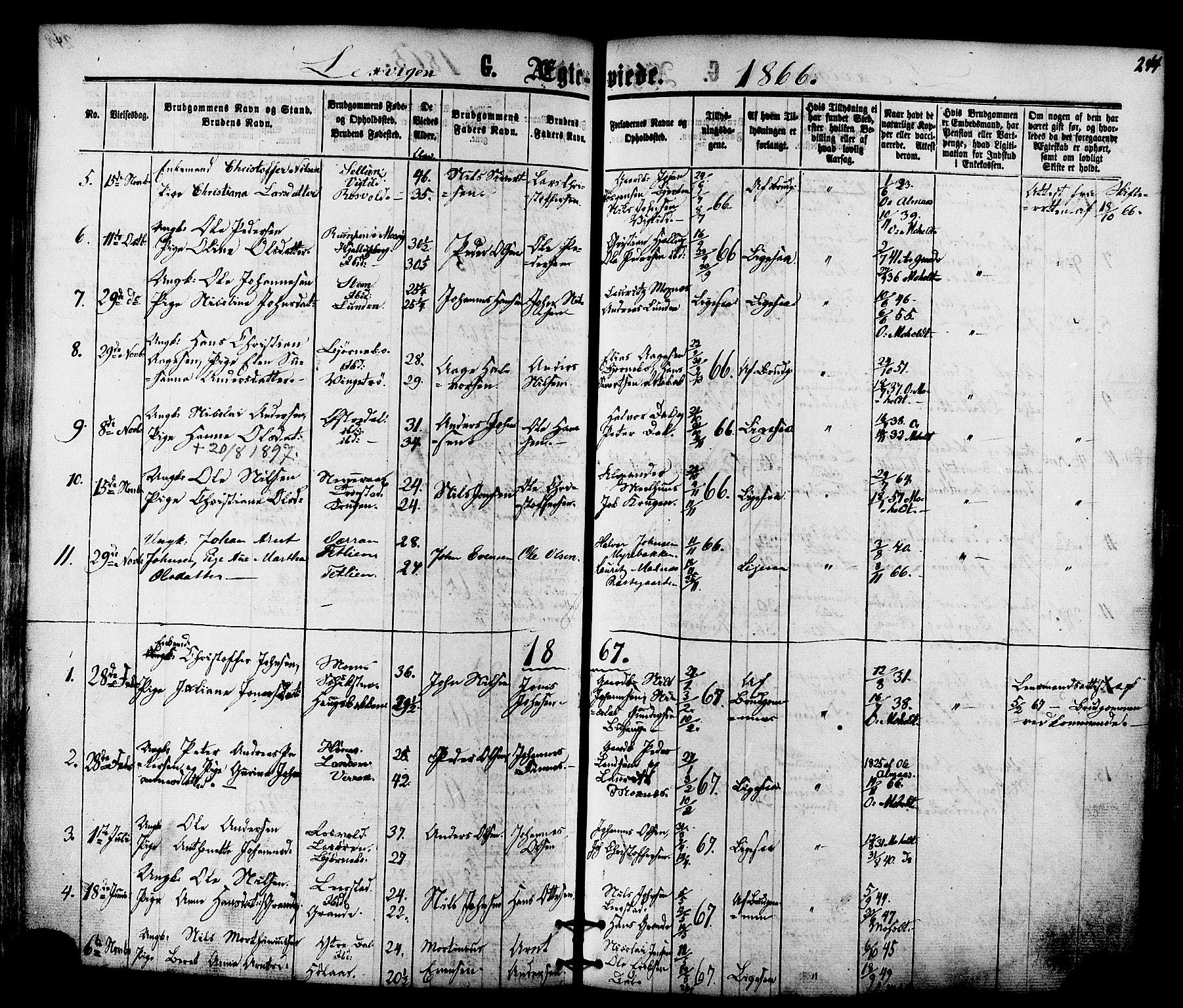 SAT, Ministerialprotokoller, klokkerbøker og fødselsregistre - Nord-Trøndelag, 701/L0009: Ministerialbok nr. 701A09 /1, 1864-1882, s. 244