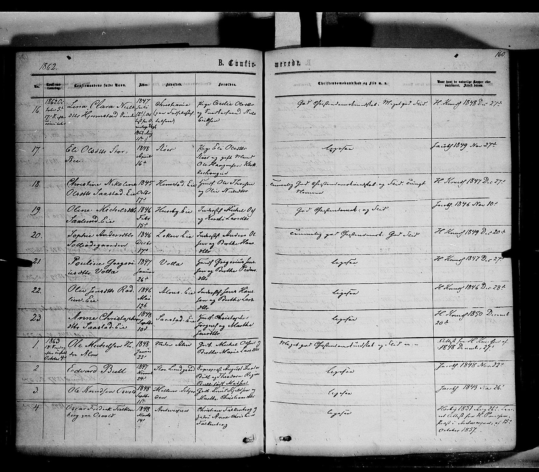 SAH, Stange prestekontor, K/L0013: Ministerialbok nr. 13, 1862-1879, s. 160