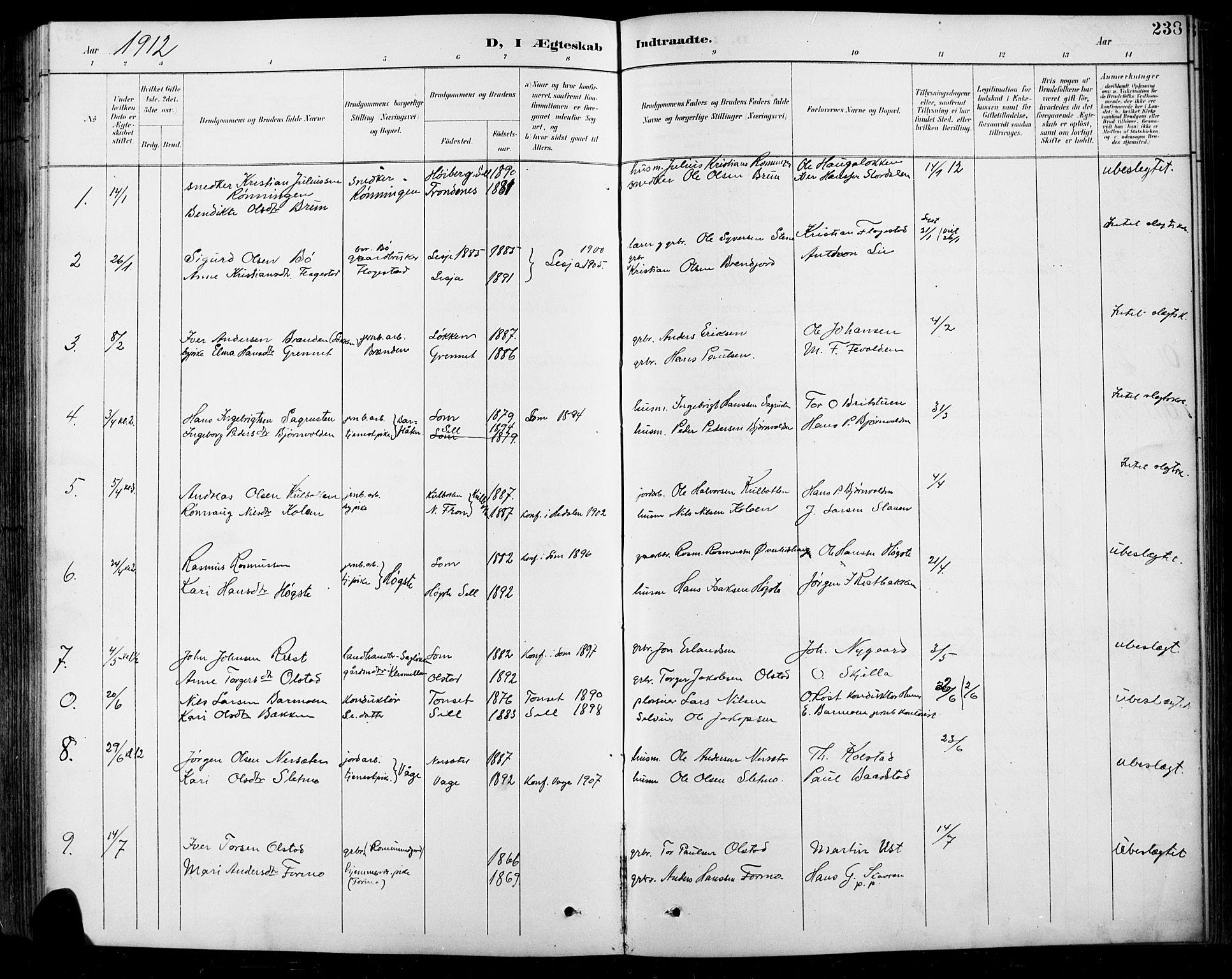 SAH, Sel prestekontor, Klokkerbok nr. 1, 1894-1923, s. 238