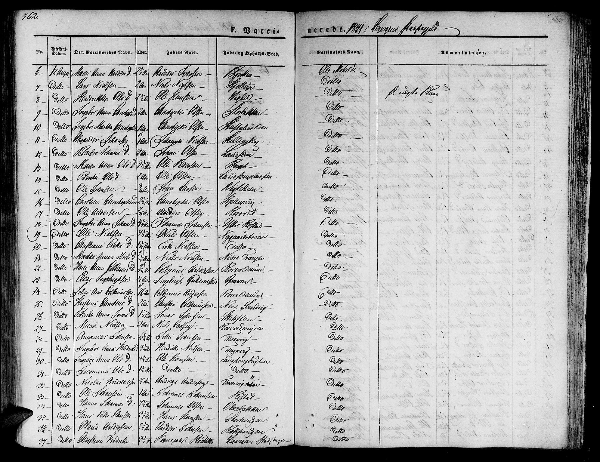 SAT, Ministerialprotokoller, klokkerbøker og fødselsregistre - Nord-Trøndelag, 701/L0006: Ministerialbok nr. 701A06, 1825-1841, s. 362