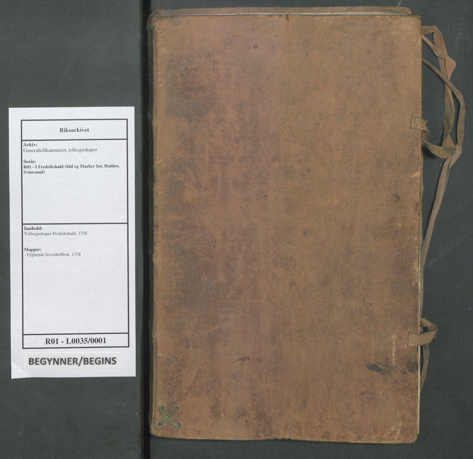 RA, Generaltollkammeret, tollregnskaper, R01/L0035: Tollregnskaper Fredrikshald, 1758