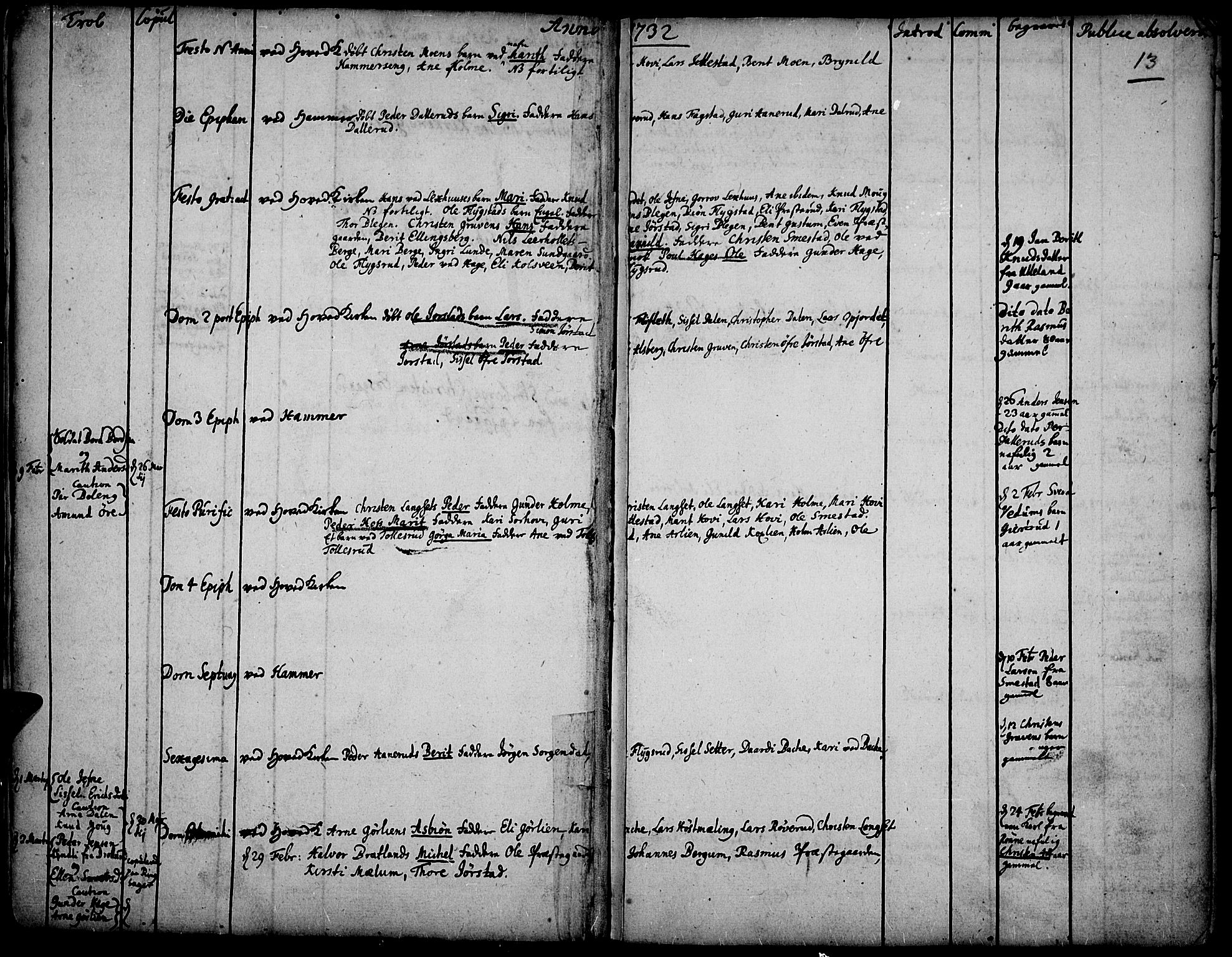 SAH, Fåberg prestekontor, Ministerialbok nr. 1, 1727-1775, s. 13