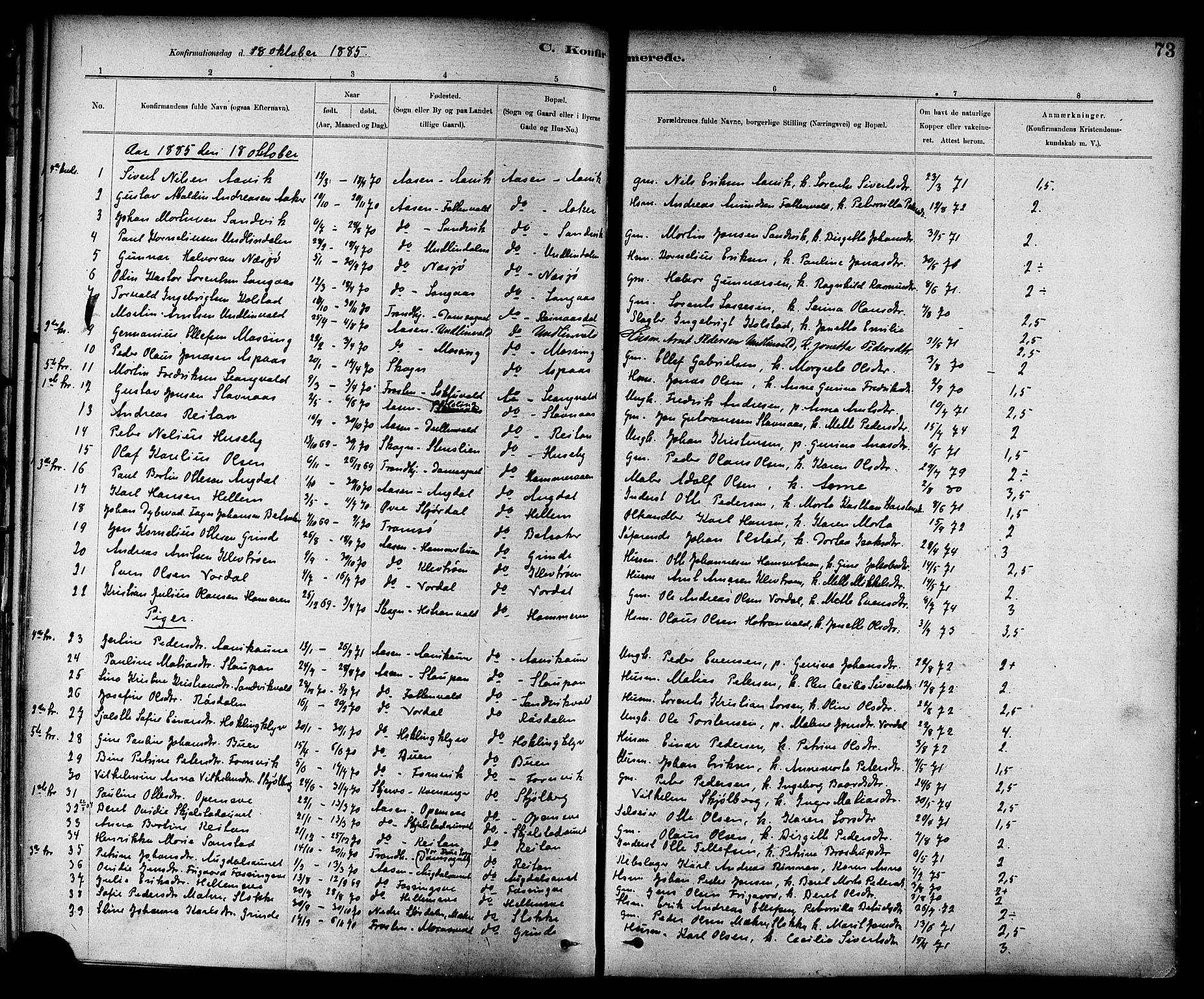 SAT, Ministerialprotokoller, klokkerbøker og fødselsregistre - Nord-Trøndelag, 714/L0130: Ministerialbok nr. 714A01, 1878-1895, s. 73