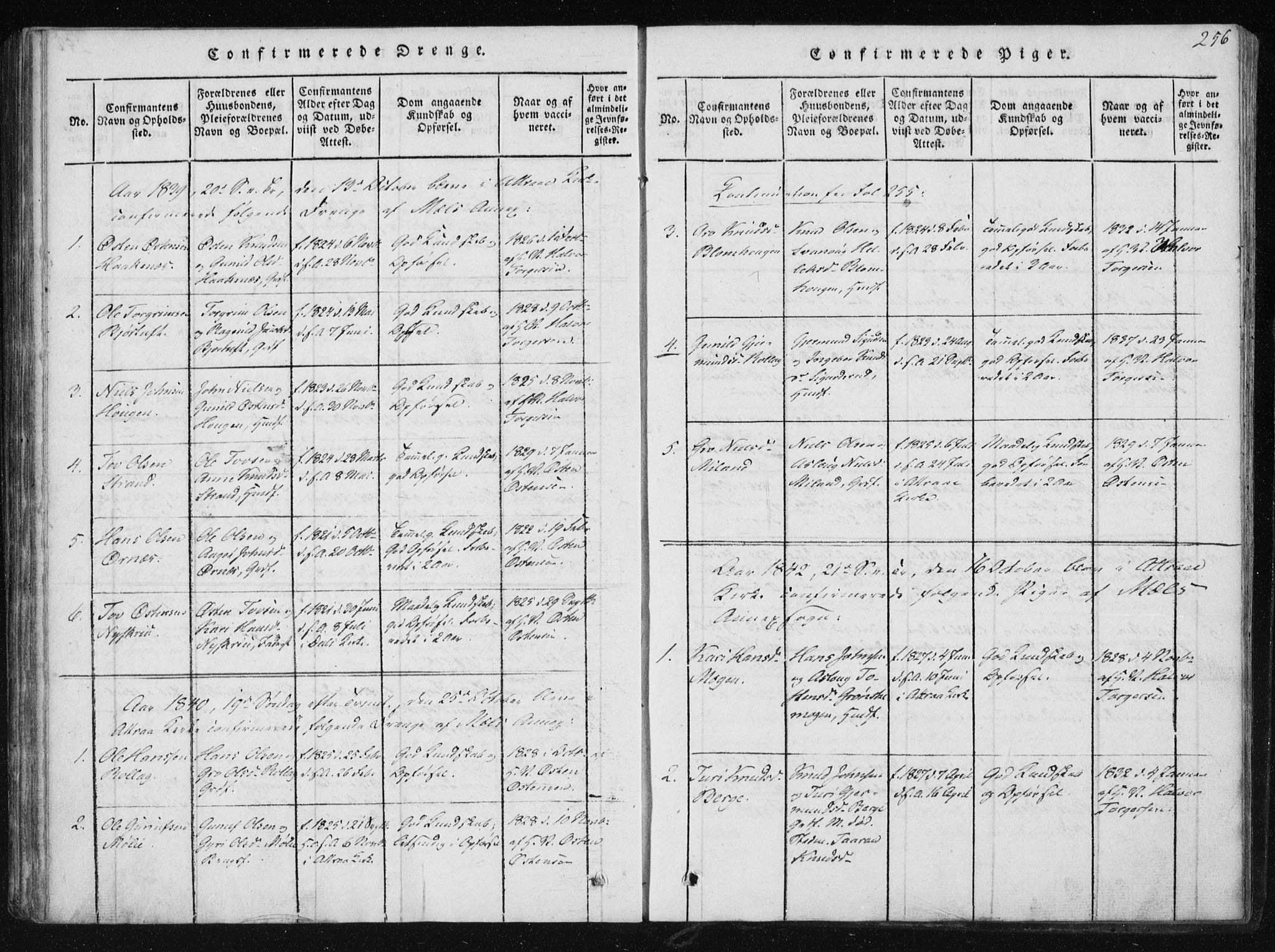 SAKO, Tinn kirkebøker, F/Fb/L0001: Ministerialbok nr. II 1, 1815-1843, s. 256