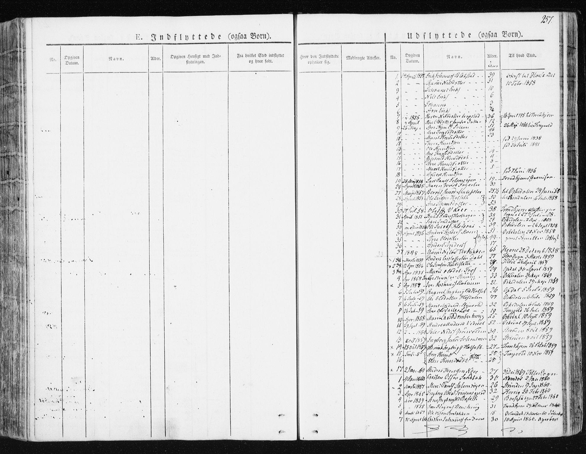 SAT, Ministerialprotokoller, klokkerbøker og fødselsregistre - Sør-Trøndelag, 672/L0855: Ministerialbok nr. 672A07, 1829-1860, s. 257