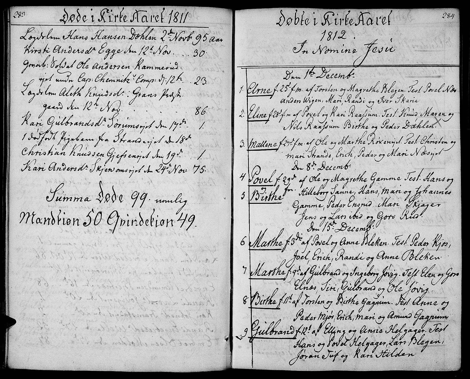SAH, Gran prestekontor, Ministerialbok nr. 8, 1798-1811, s. 283-284