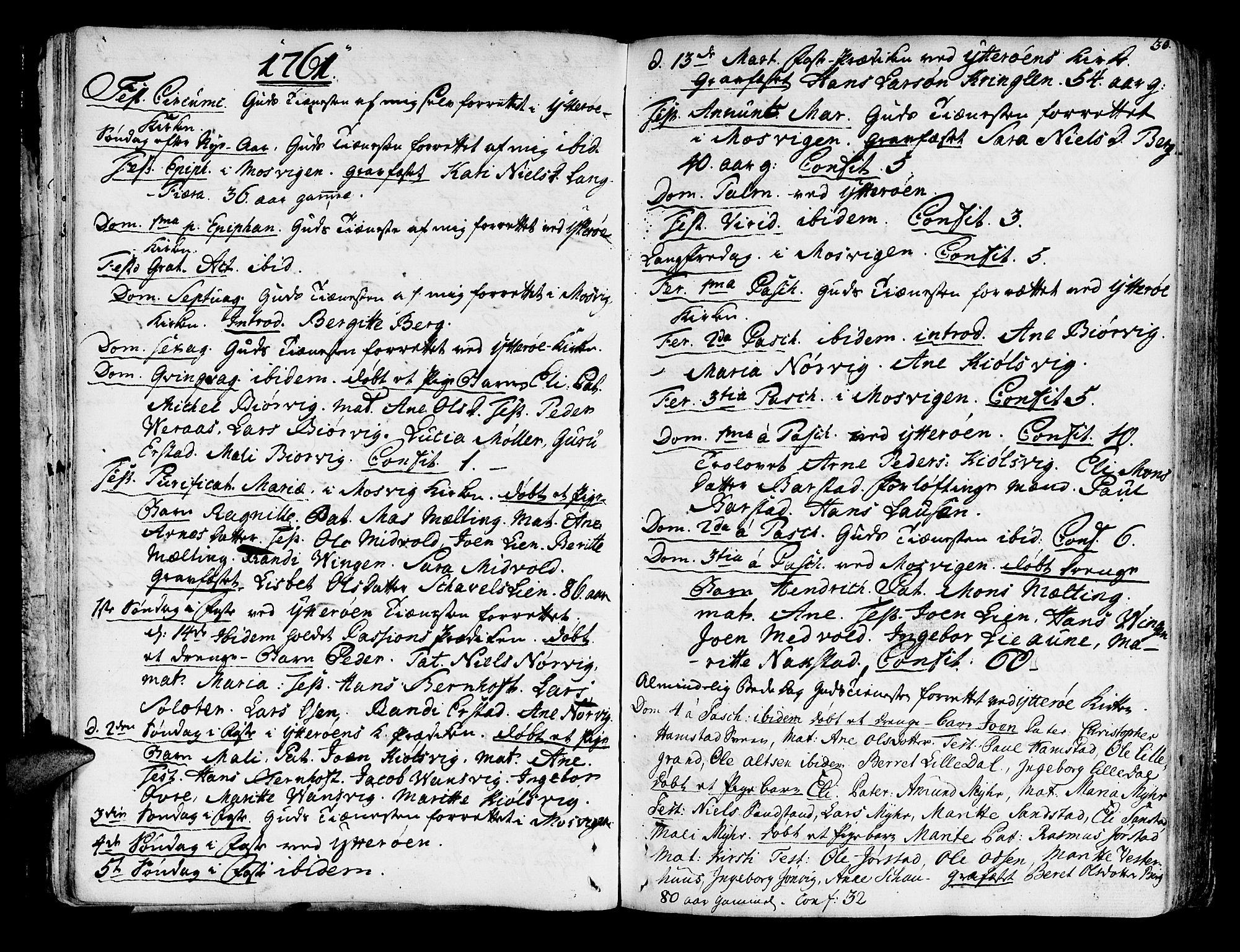 SAT, Ministerialprotokoller, klokkerbøker og fødselsregistre - Nord-Trøndelag, 722/L0216: Ministerialbok nr. 722A03, 1756-1816, s. 30