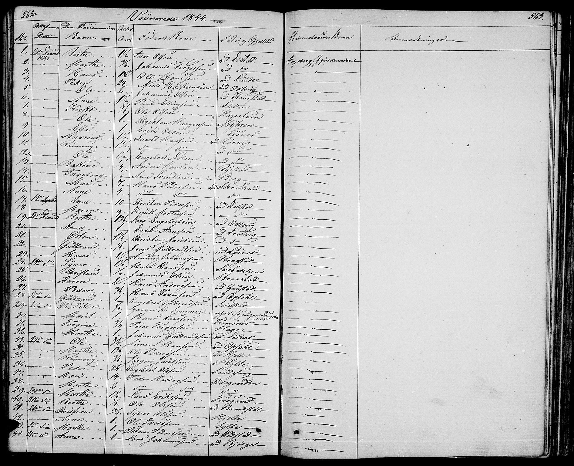 SAH, Ringebu prestekontor, Klokkerbok nr. 2, 1839-1853, s. 562-563