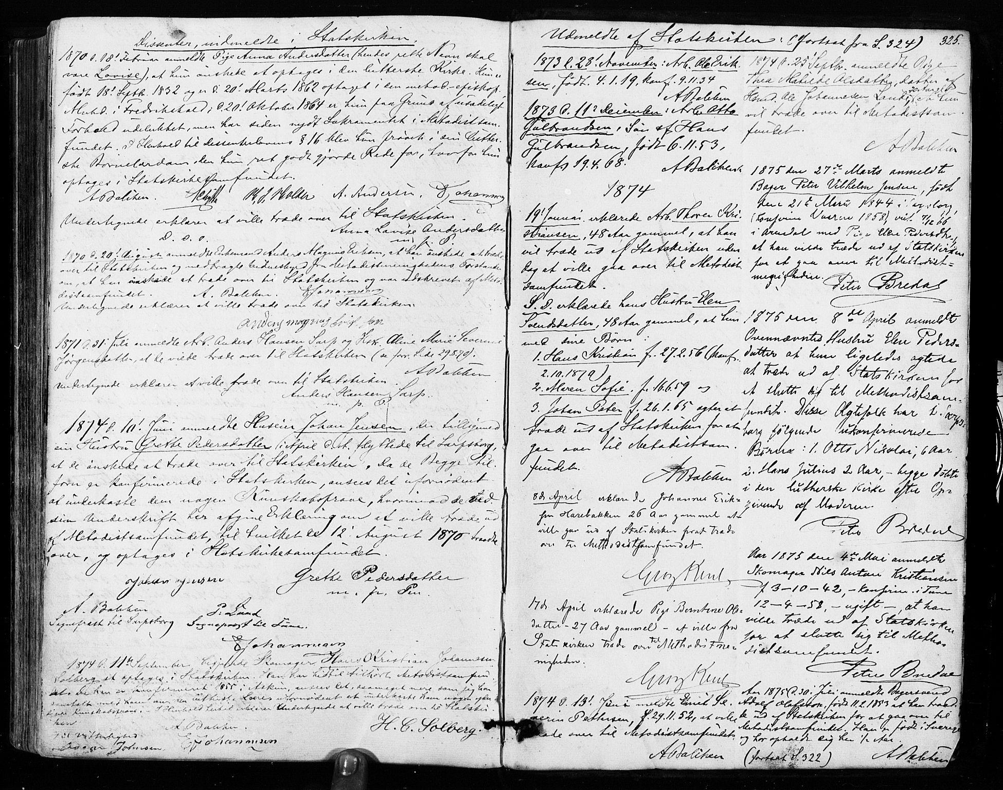 SAO, Sarpsborg prestekontor Kirkebøker, F/Fa/L0002: Ministerialbok nr. 2, 1869-1877, s. 325